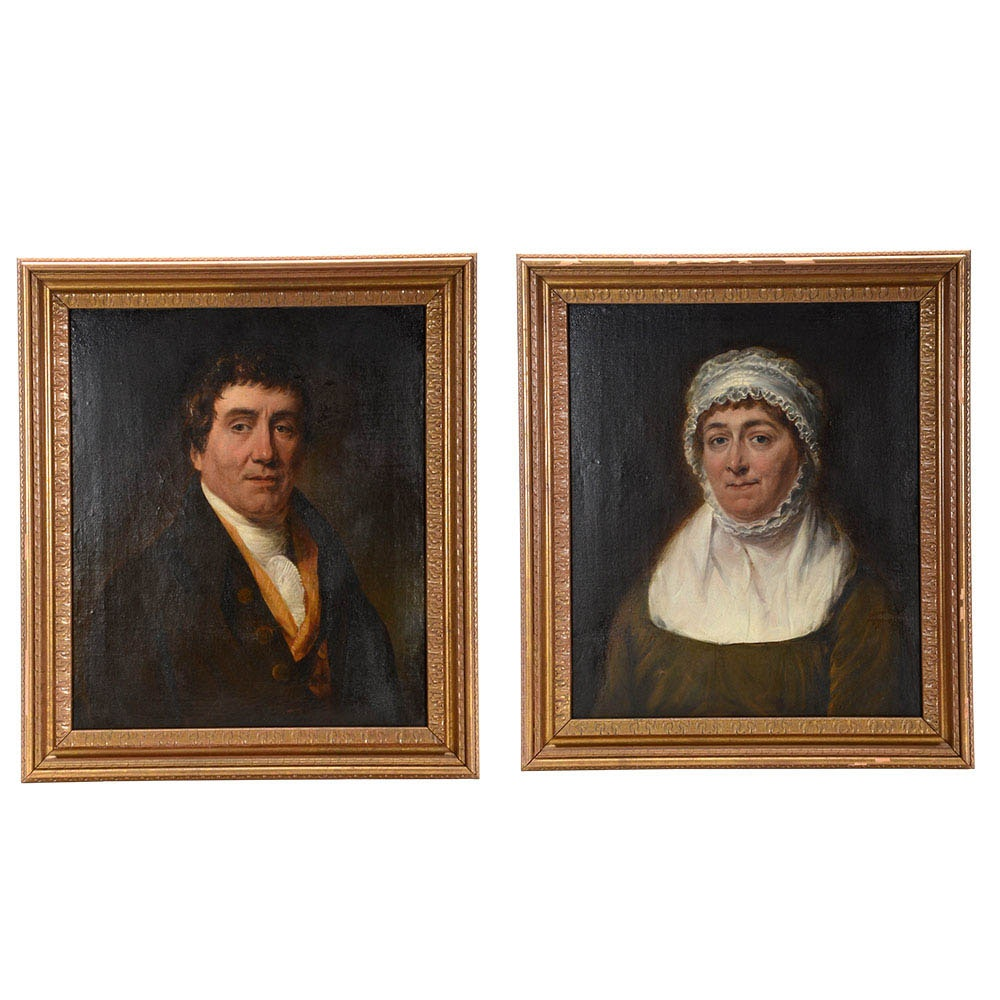 Hutchisson Signed Original 1813 Oil Portraits on Canvas