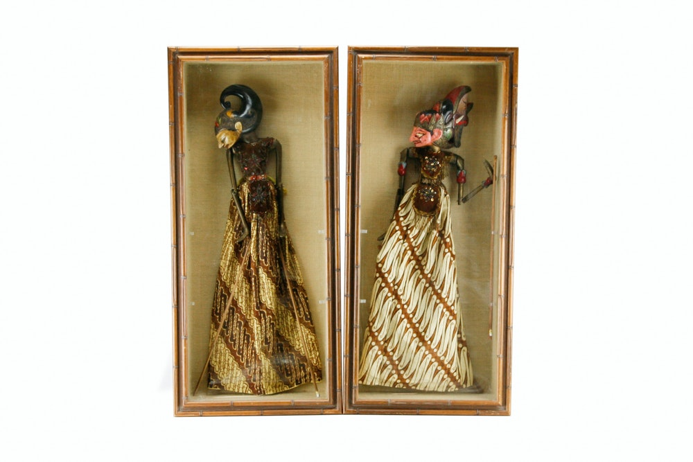 Indonesian Wayang Golek Puppets in Shadow Box Frames