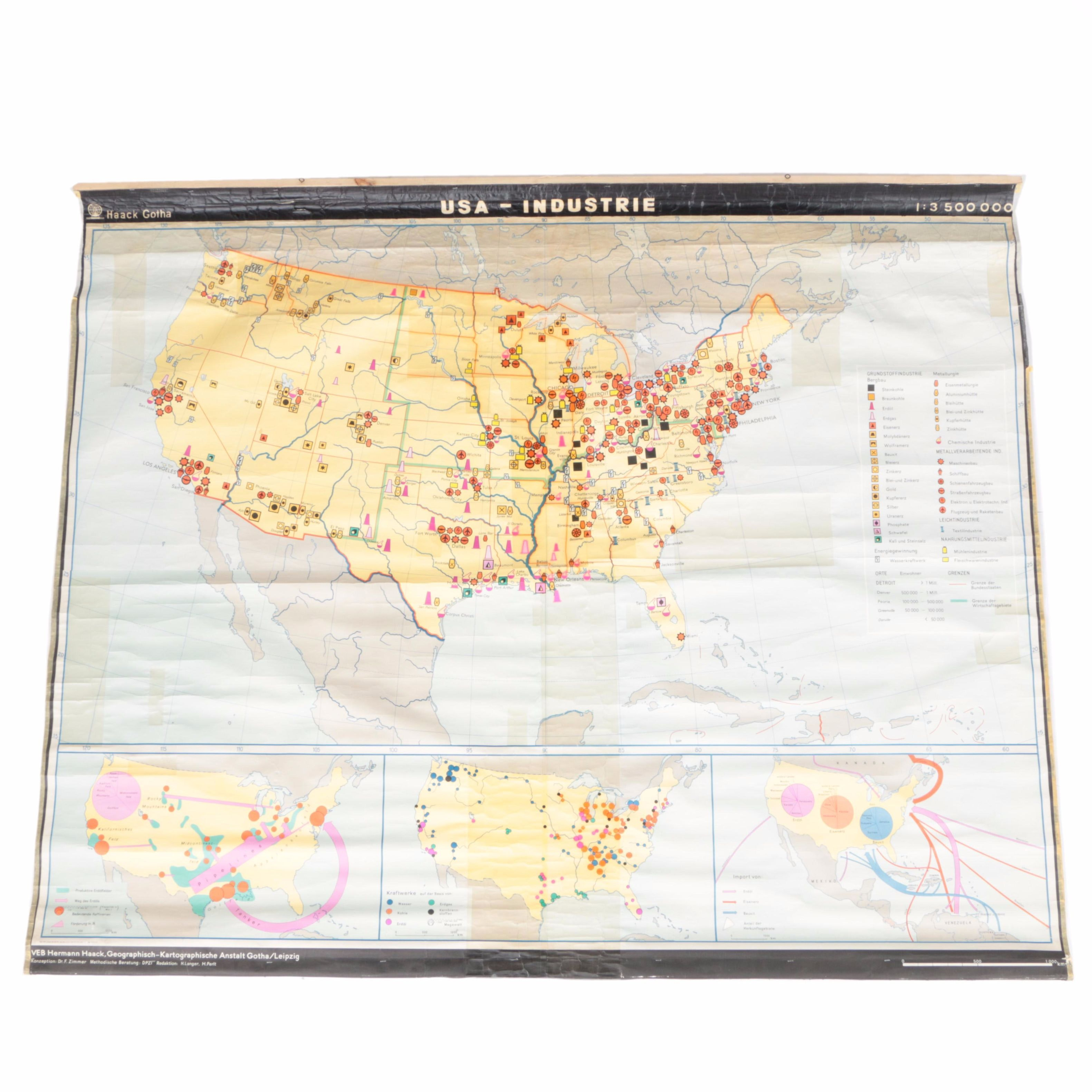 Haack Gotha Vintage Industrial Map of the United States
