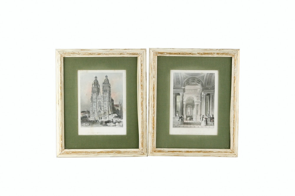 Vintage Architectural Hand-Colored Engravings after Thomas Allom of French Landmarks