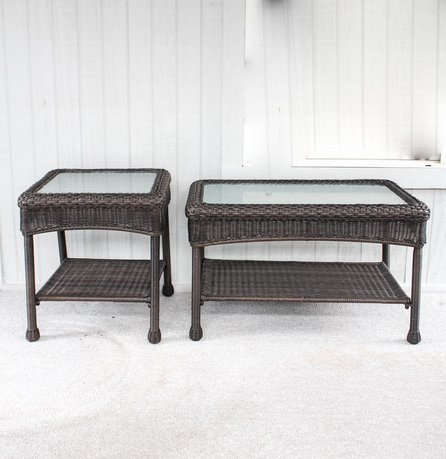 Synthetic Wicker Coffee And Side Tables By Grand Basket Co