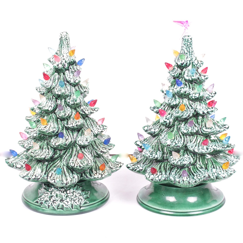Two Vintage Ceramic Christmas Trees
