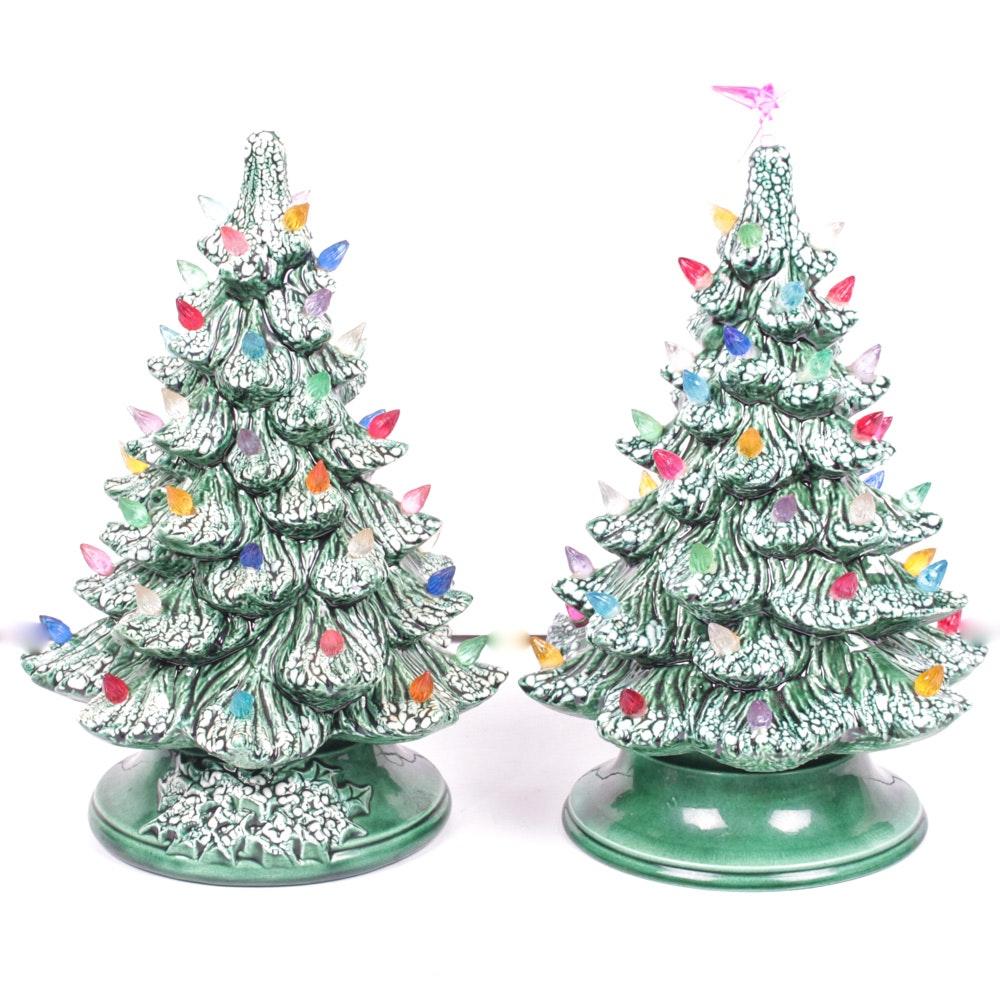Two Vintage Ceramic Christmas Trees