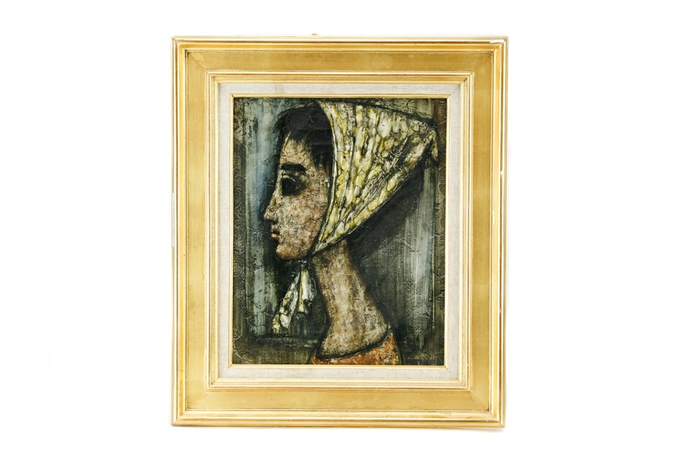 "Enrico Campagnola Framed Oil on Canvas ""Beatrice"""