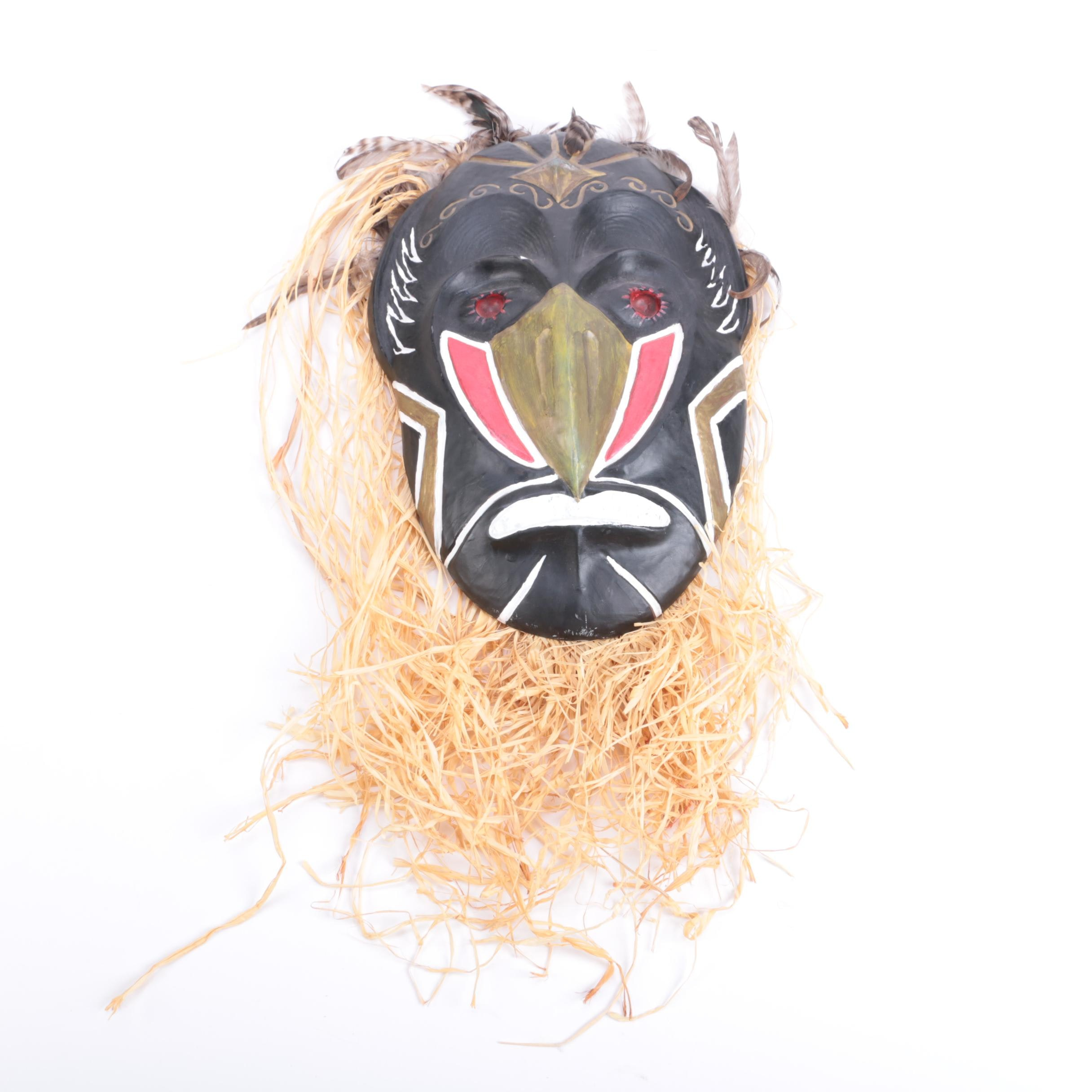 Polychrome Plaster Mask With Raffia and Feathers