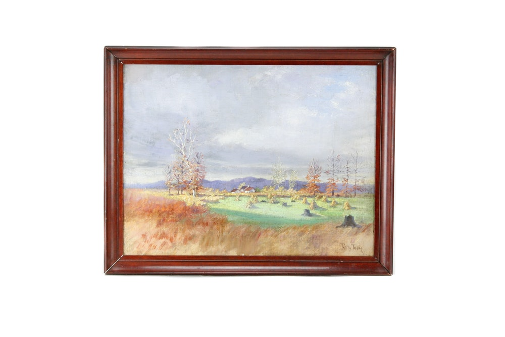 Patty Thum Oil on Board of a Field at Harvest
