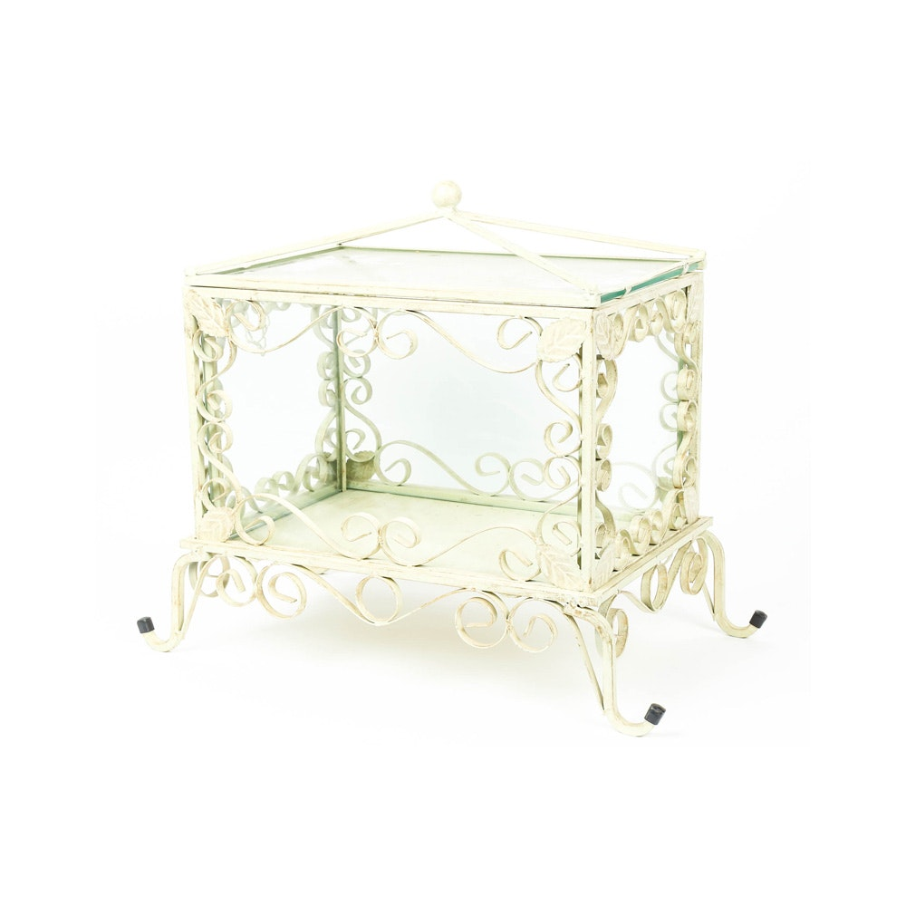 Wrought Iron and Glass Presentation Box for Wedding Reception Envelopes
