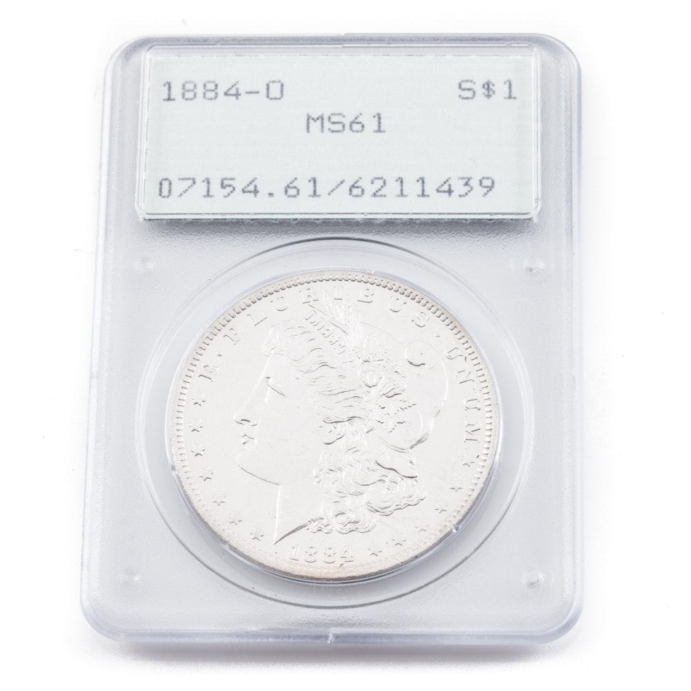 Graded MS-61 (By PCGS) 1884 O silver Morgan dollar
