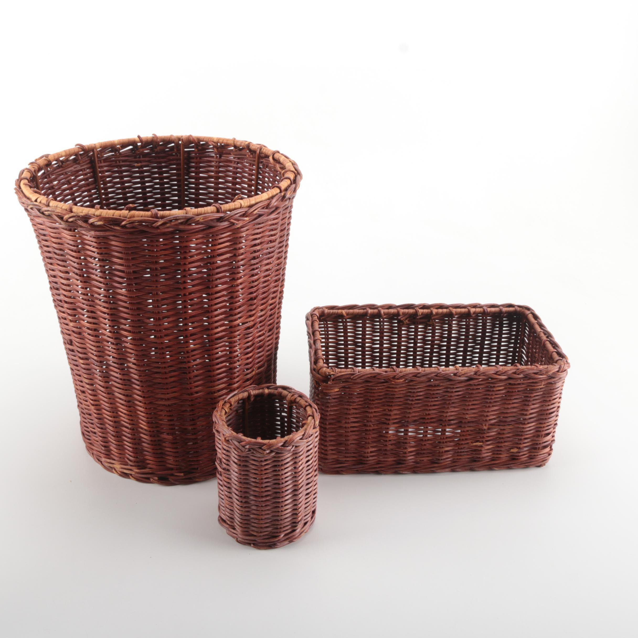 Brown Wicker Bathroom Set