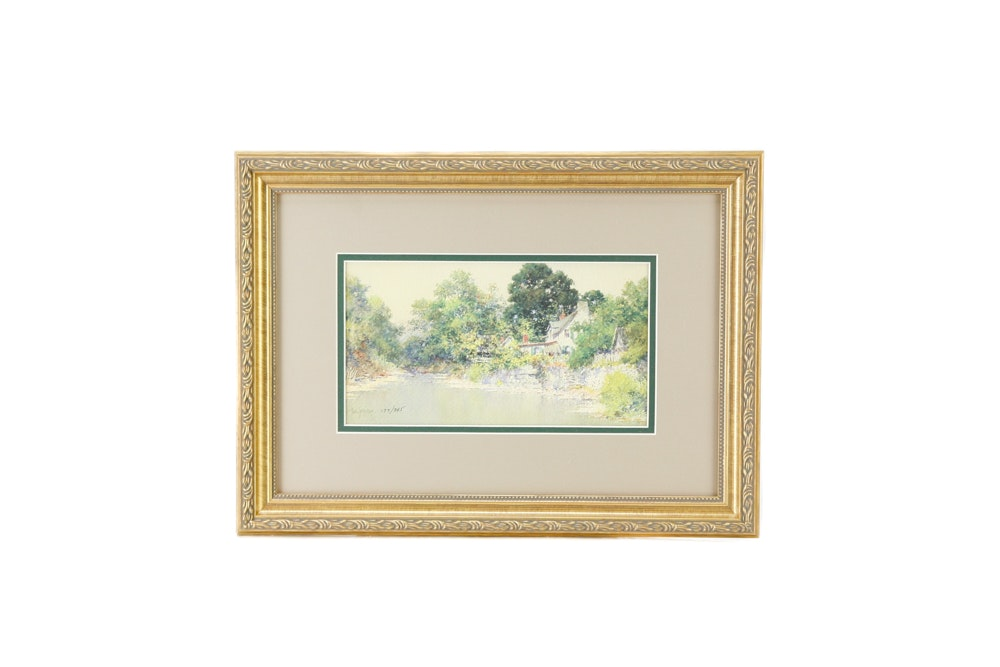 """Framed Limited Edition Offset Lithograph after Paul Sawyier """"Peaks Mill"""""""