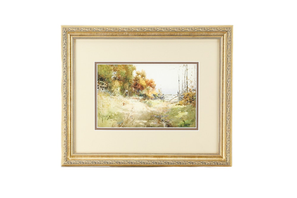 "Framed Limited Edition Offset Lithograph after Paul Sawyier ""Peaks Mill Road"""