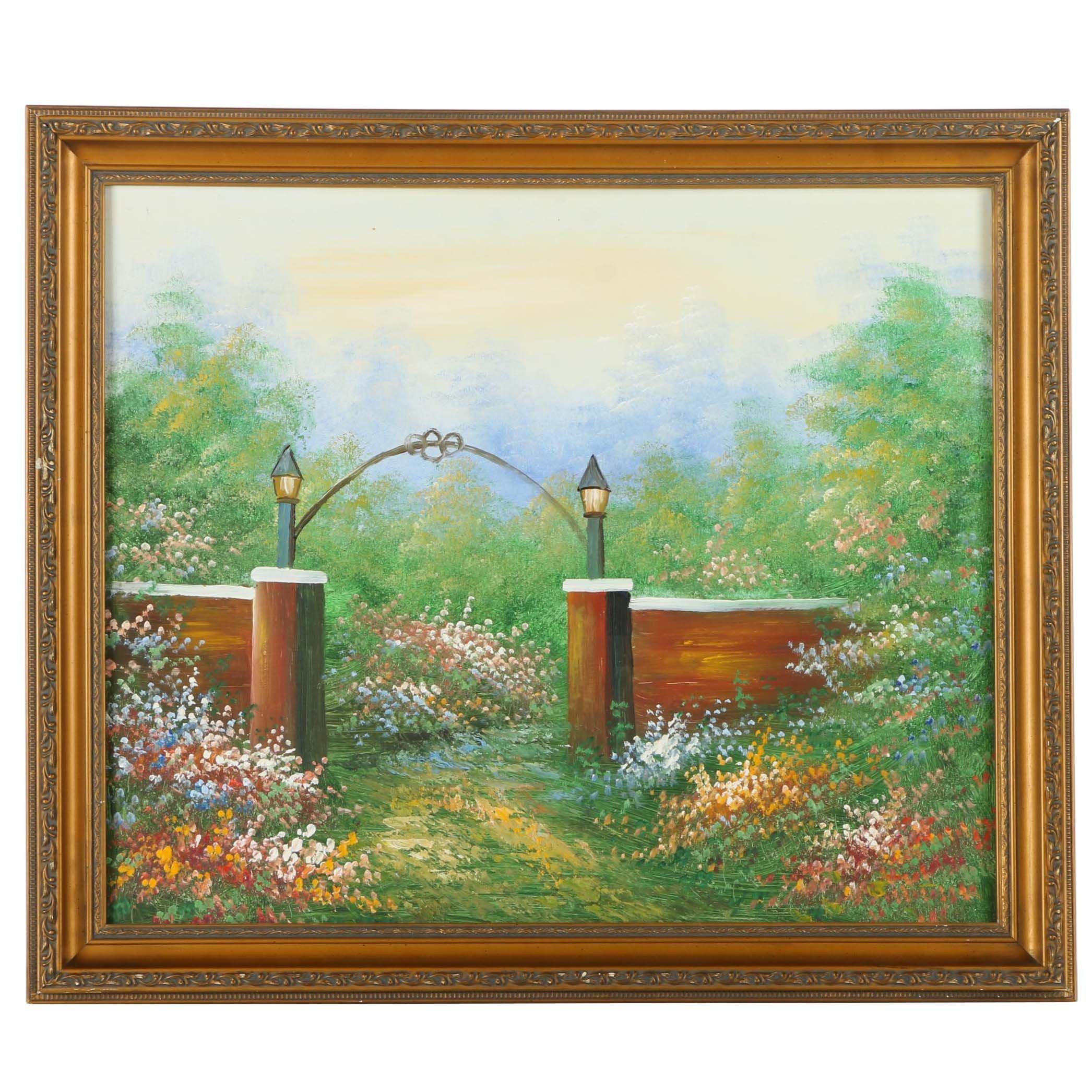 Oil Painting on Board of a Flourishing Garden