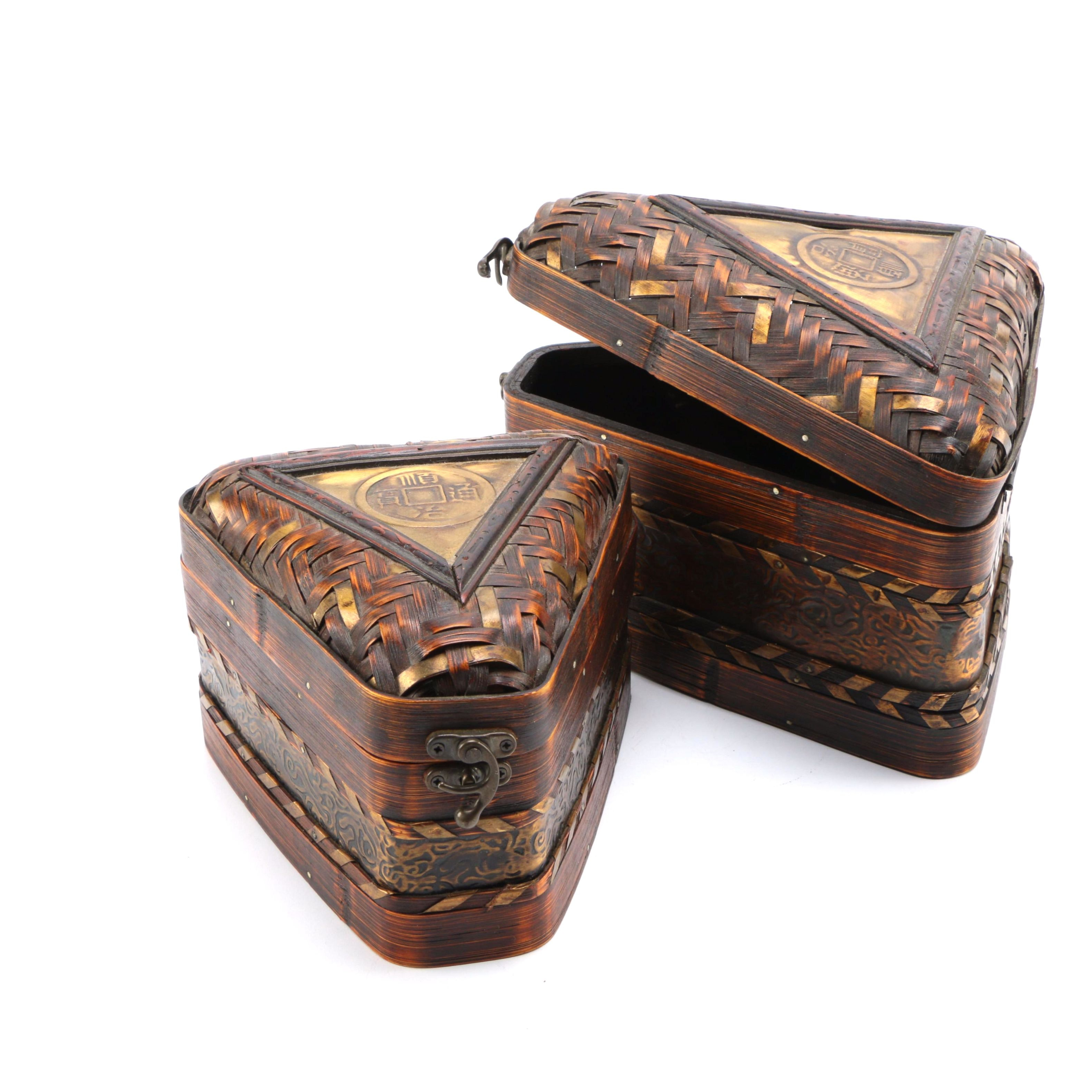 Chinese Inspired Wicker Storage Boxes