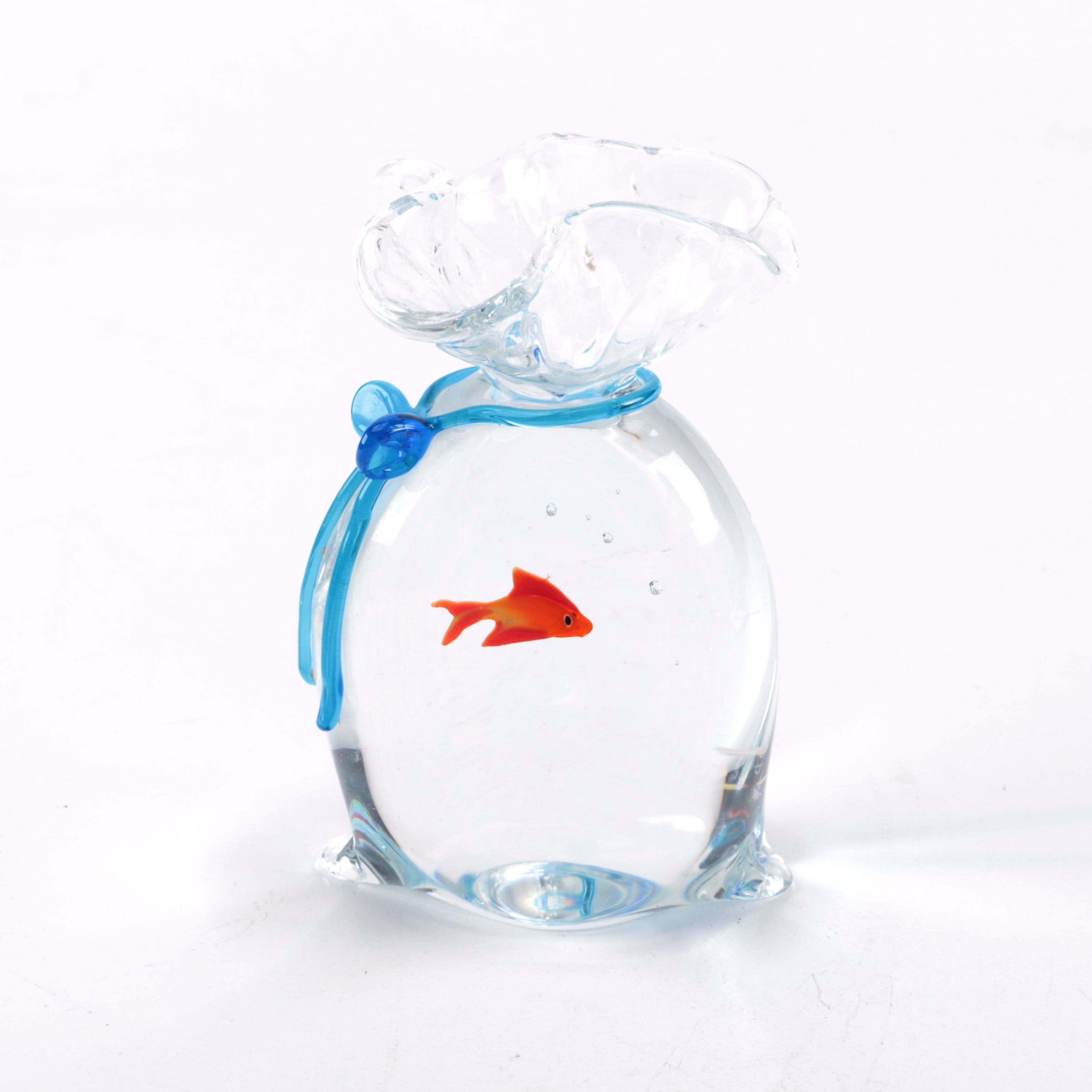Signed Oscar Zanetti Murano Glass  Goldfish in Bag Paperweight.