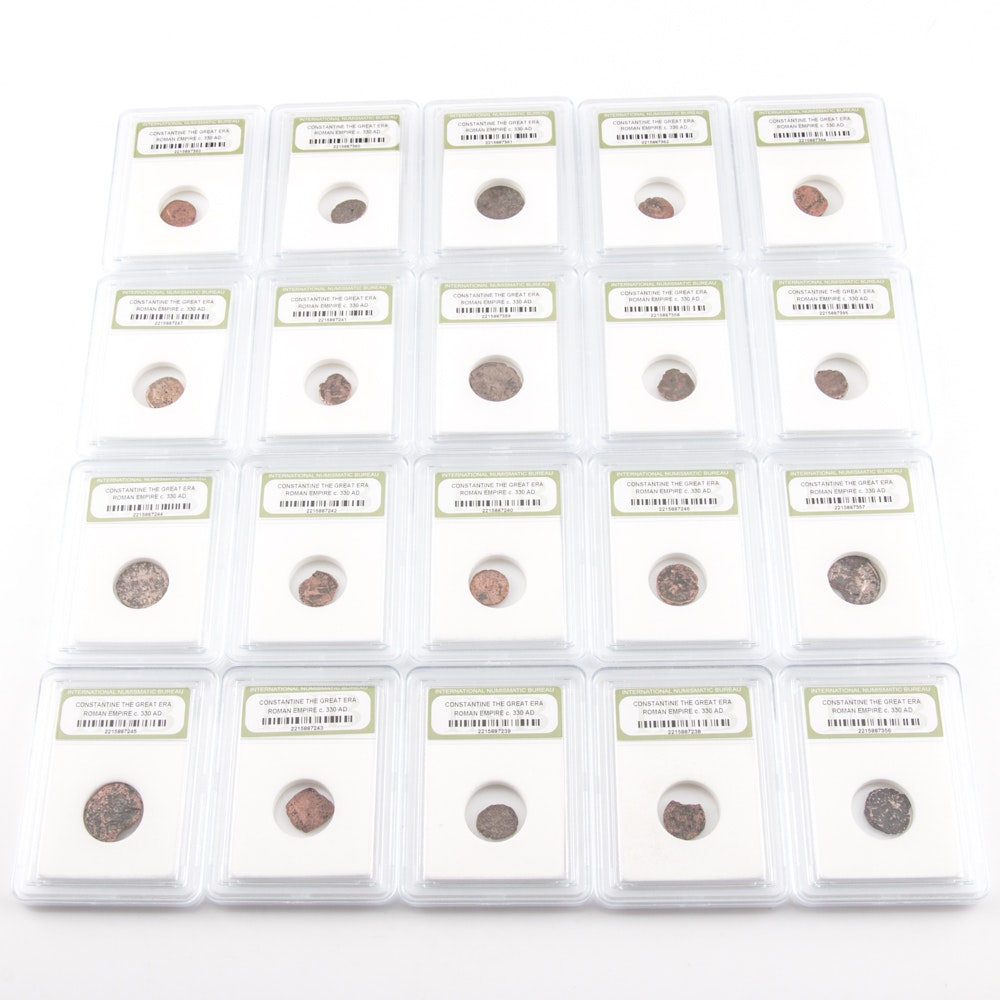 Twenty Encapsulated Ancient Roman Imperial Bronze Coins from Constantine the Great's Era