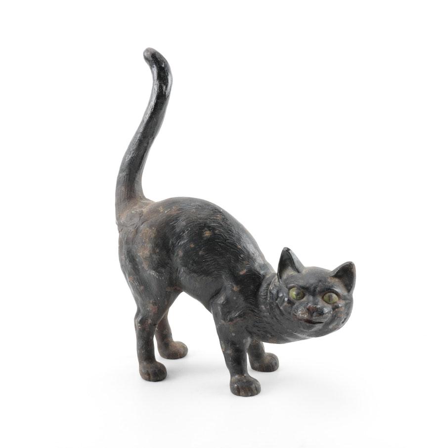 Vintage black cast iron cat doorstop in the style of hubley ebth - Cast iron cat doorstop ...