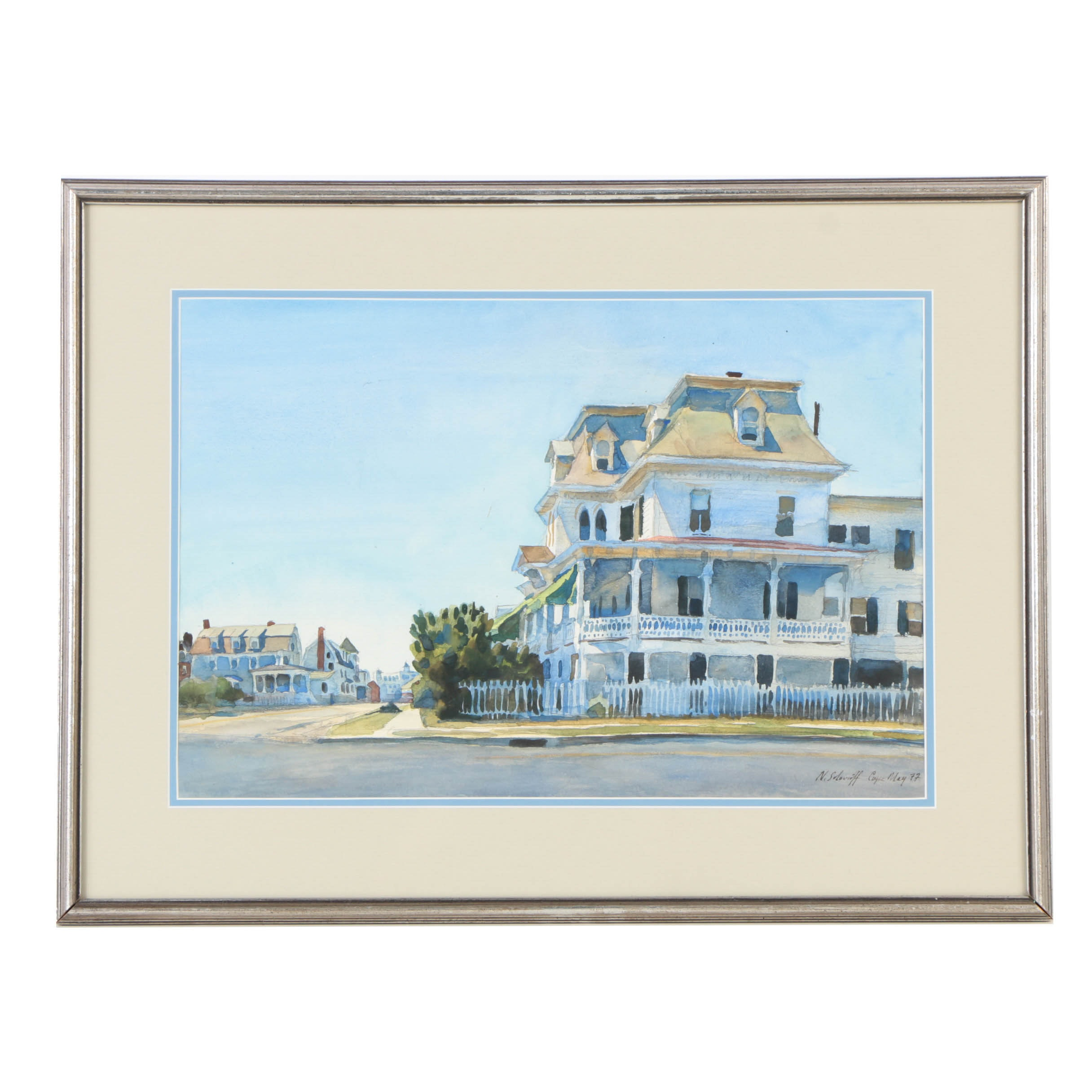 """1977 Nicholas Solovioff Watercolor Painting on Paper """"Cape May"""""""