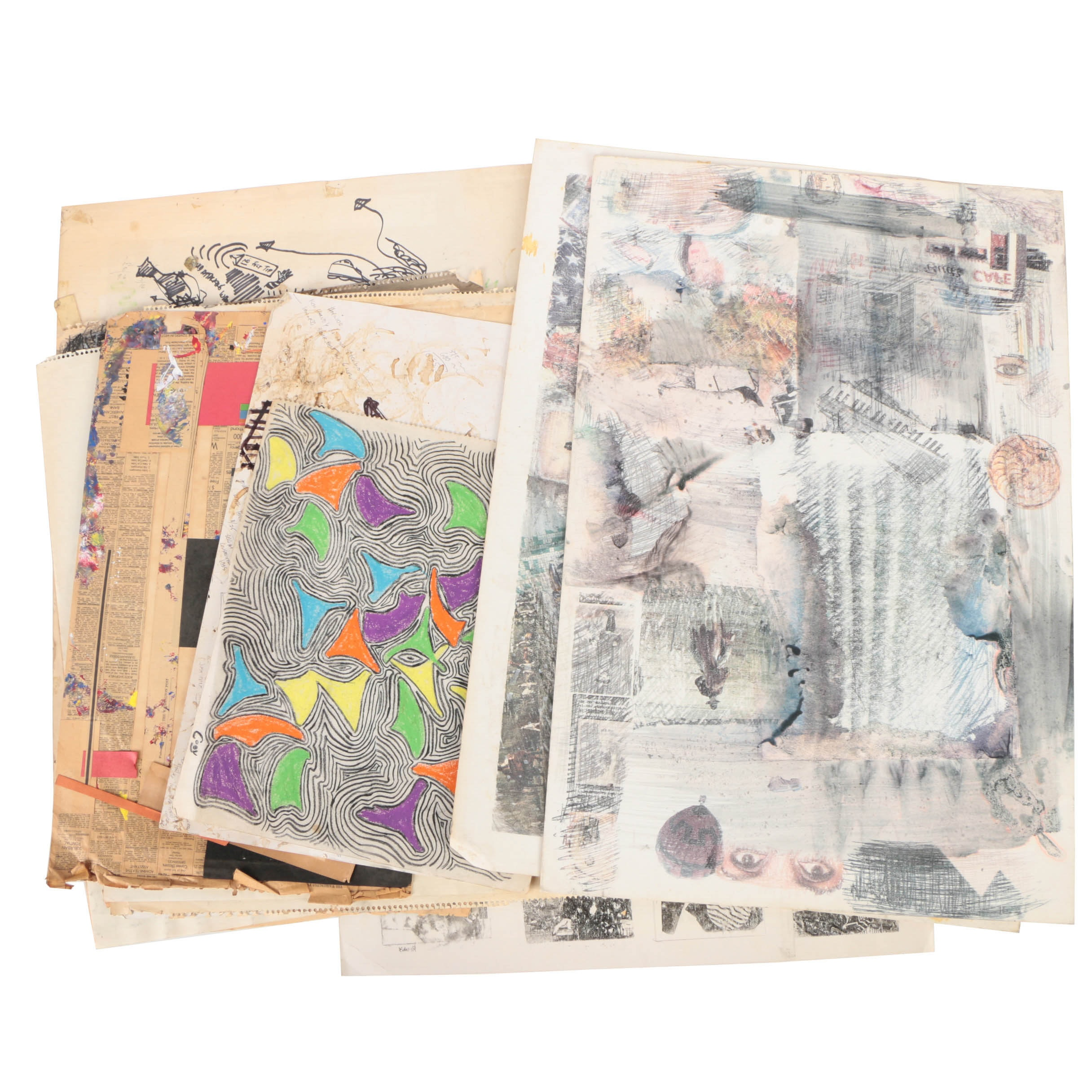 Drawings and Mixed Media Artwork on Paper