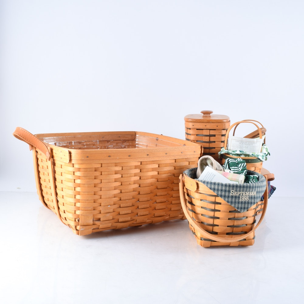 Assortment of Hand Woven Longaberger Baskets