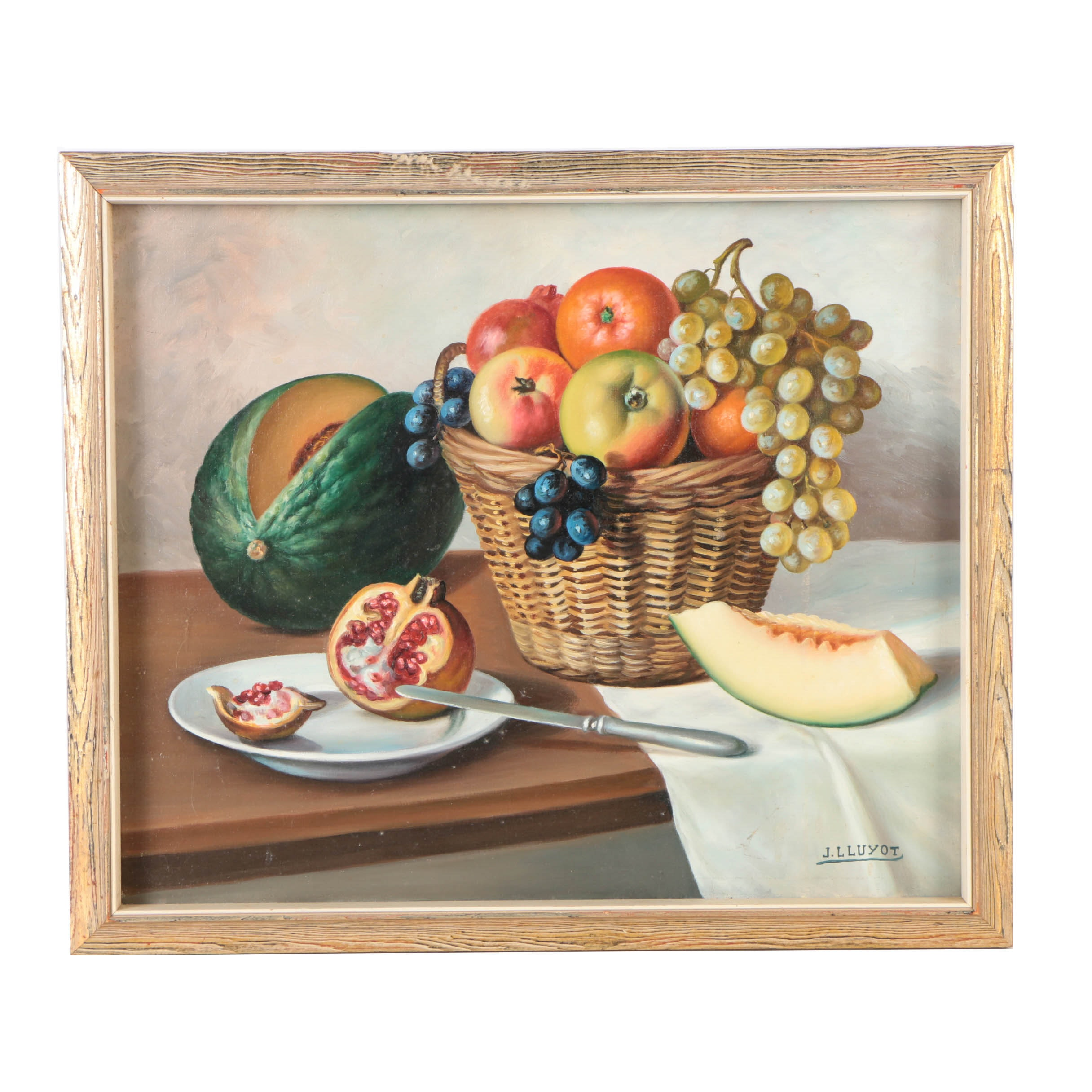 J. Lluyot Oil Painting on Canvas of Still Life