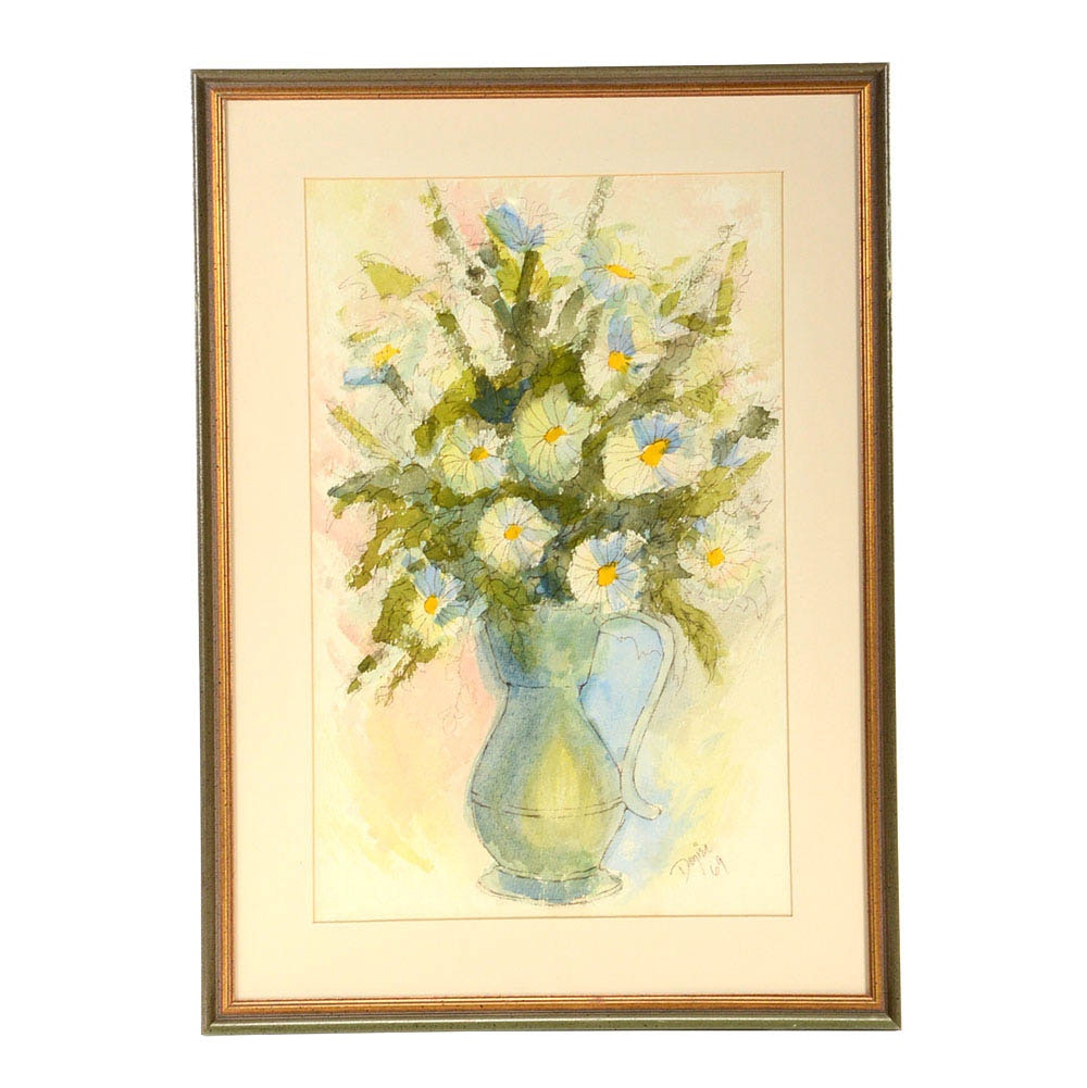 June Dozier Original Watercolor & Ink Floral Still Life on Paper