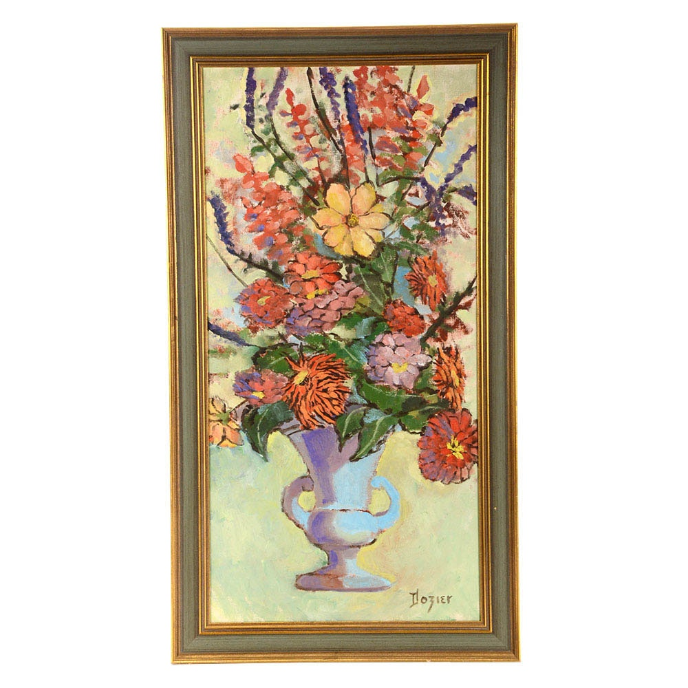 June Dozier Original Floral Still Life Oil on Canvas Board