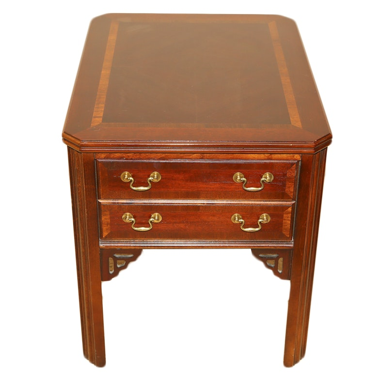 Vintage Leather Top End Table By Lane Furniture ...