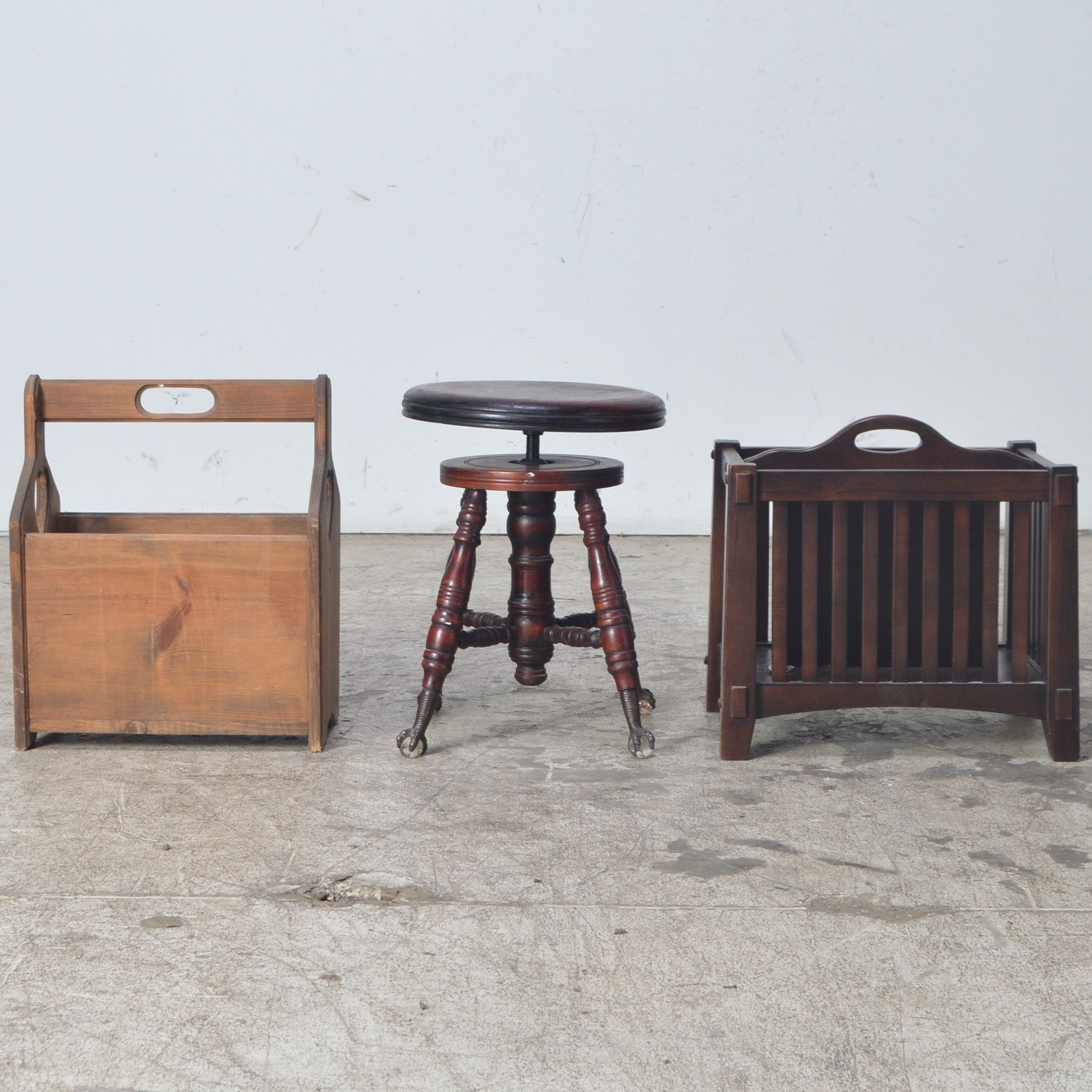 Vintage Piano Stool with Two Magazine Racks