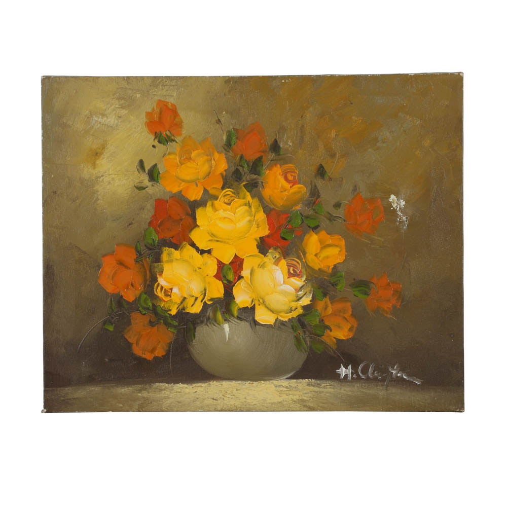 H. Clayton Oil Painting on Canvas of Roses