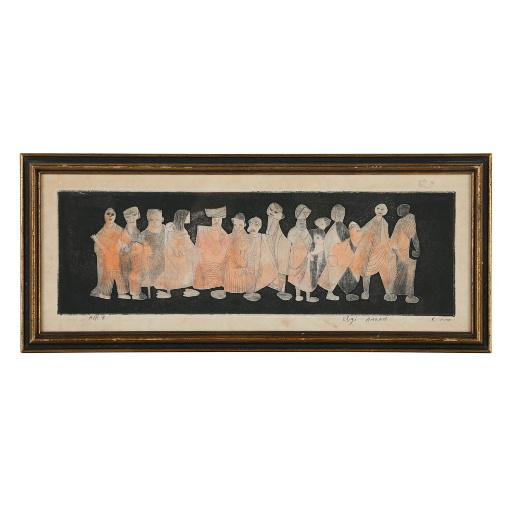 Amram Ebgi Hand Tinted Etching on Paper of a Row of Figures