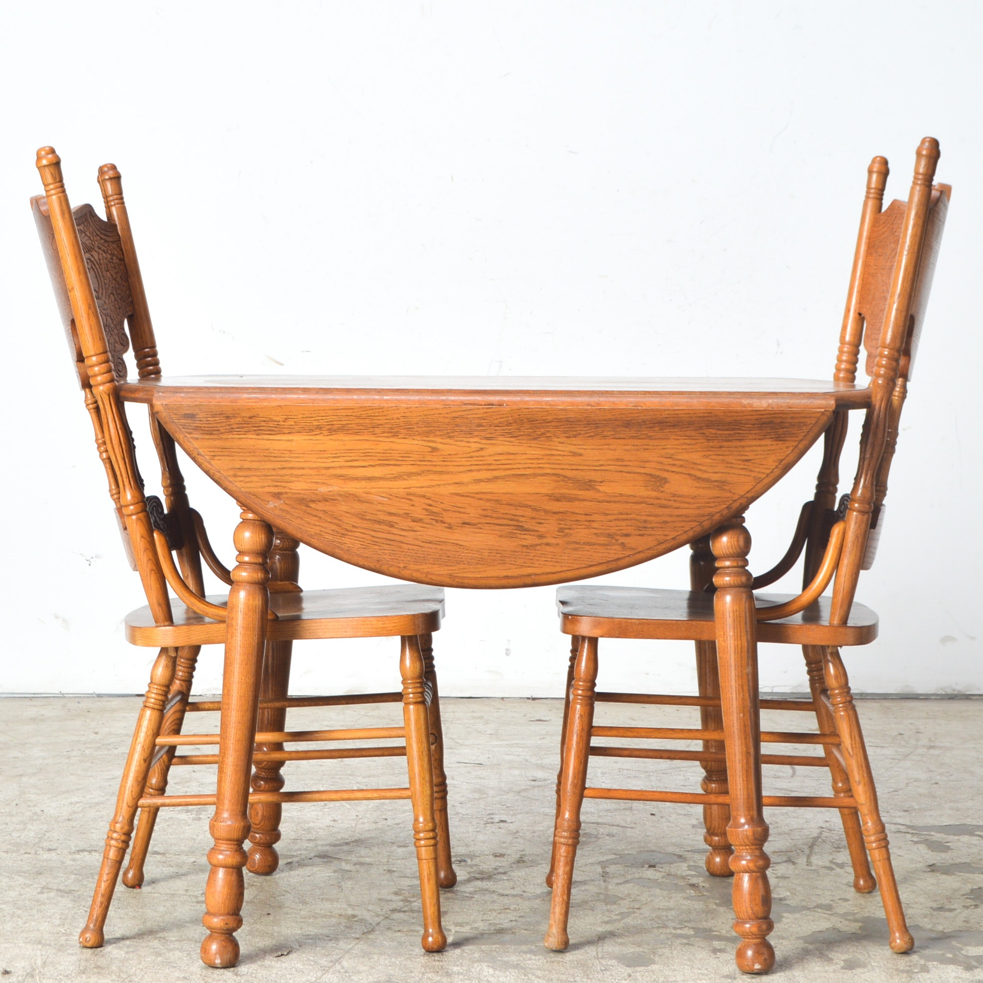 Vintage Oak Drop Leaf Table with Two Chairs