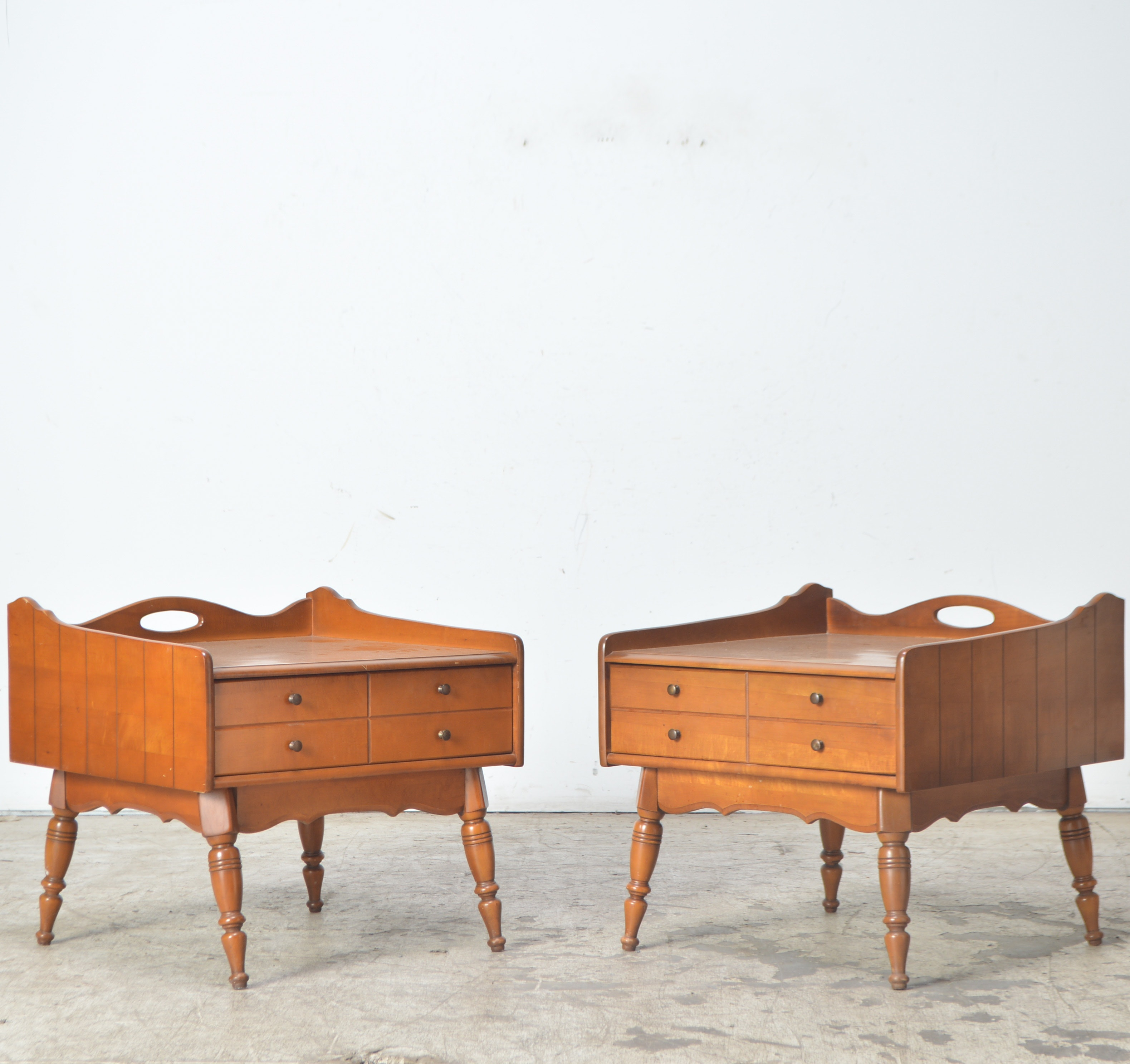 Vintage Maple Side Tables By Bassett Furniture