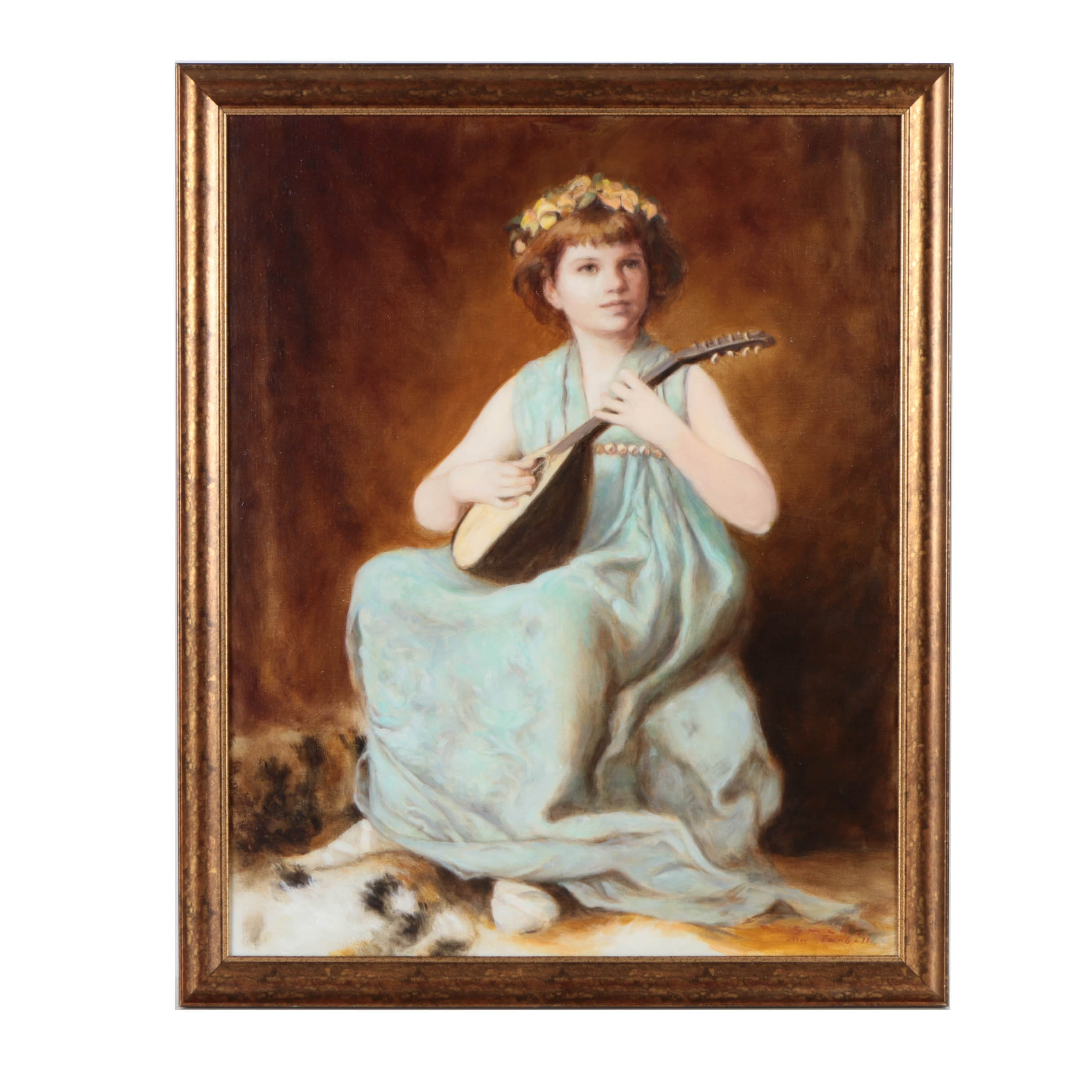 M. Small Copy Painting After Edmund Charles Tarbell