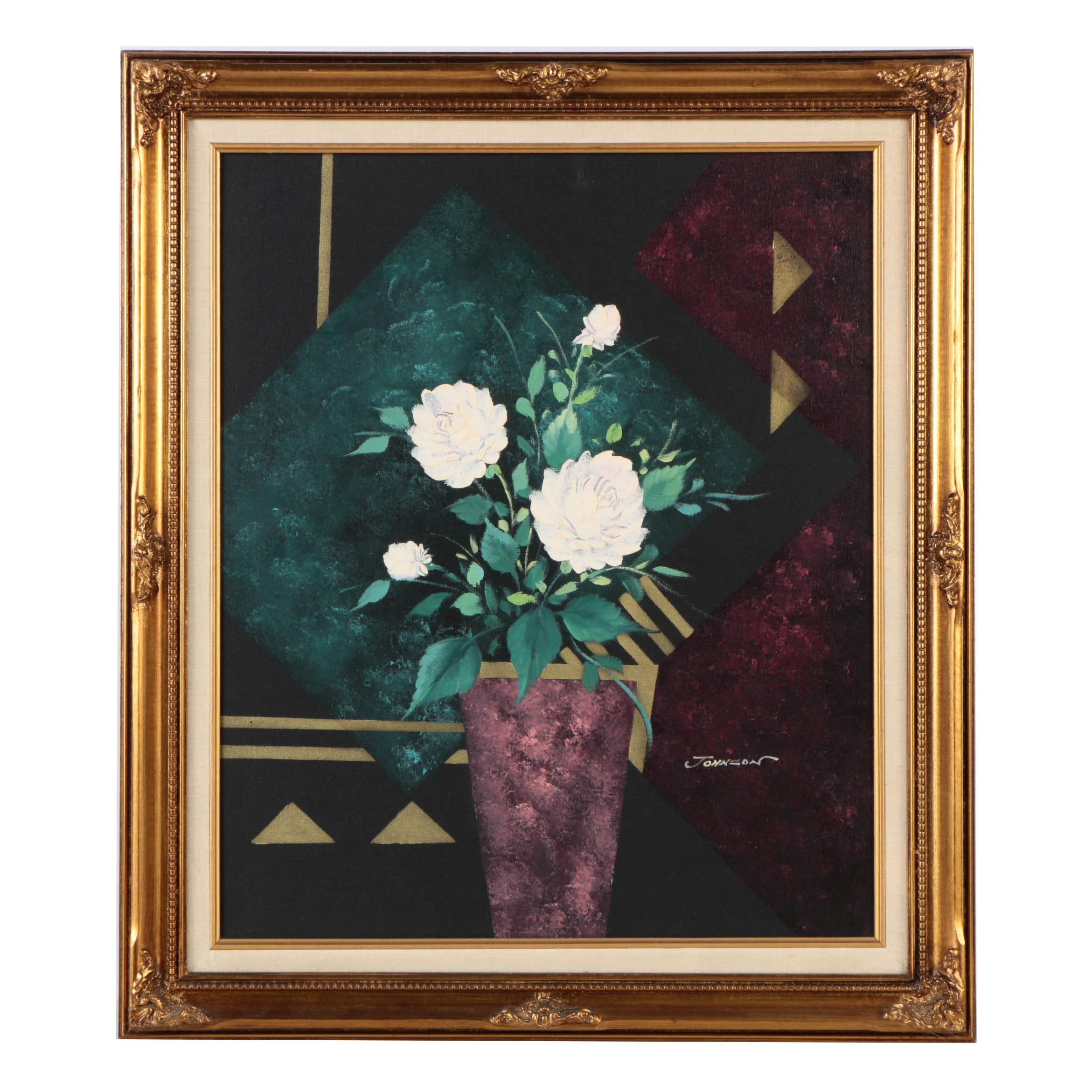 Johnson Acrylic Painting of Floral Still Life