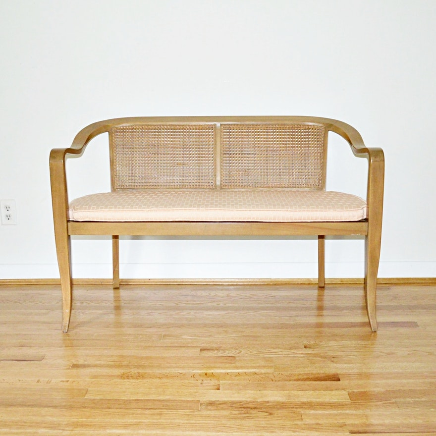 Mid Century Modern Cane Settee, in the Style of Edward Wormley