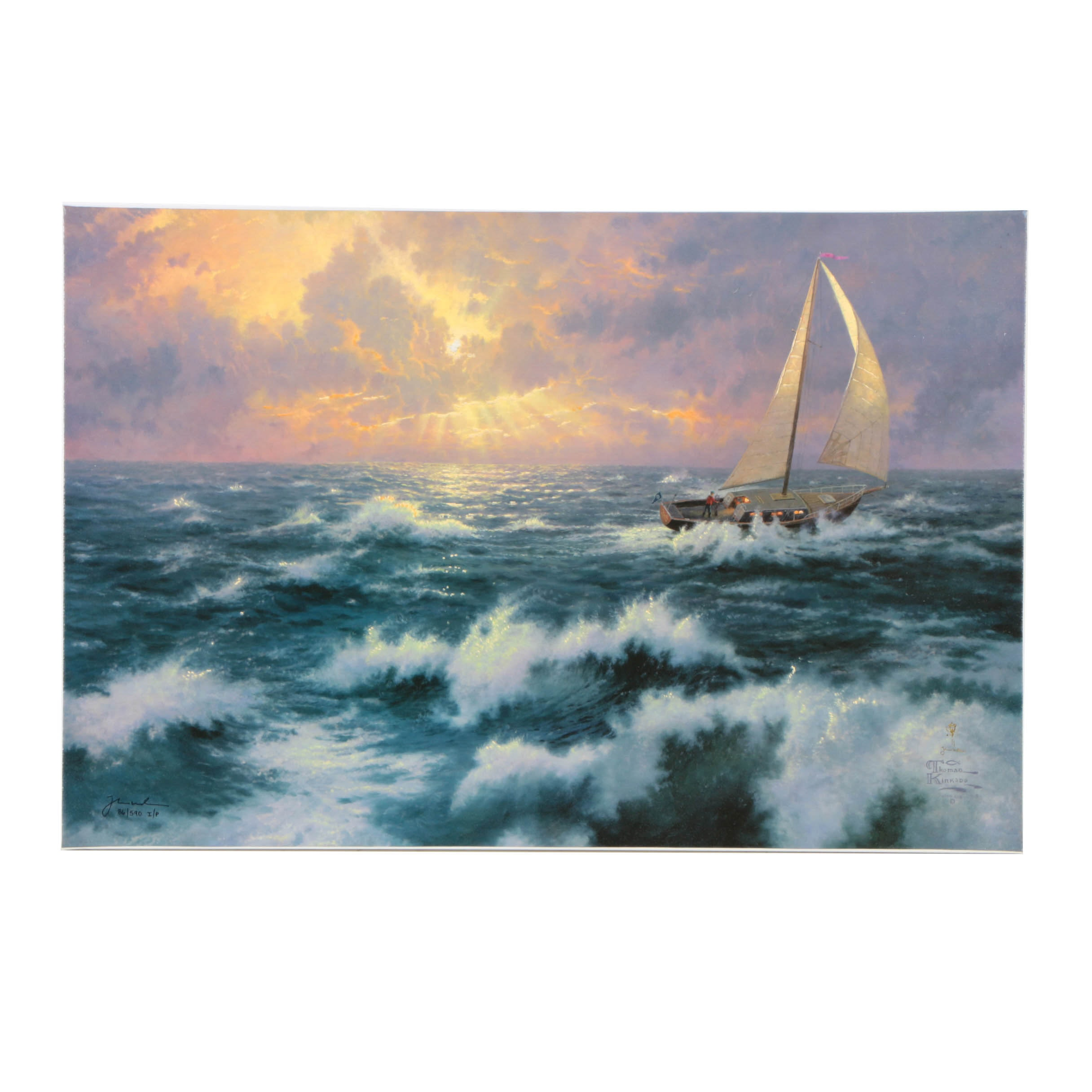 "Thomas Kinkade Limited Edition Offset Lithograph on Canvas ""Perseverance"""