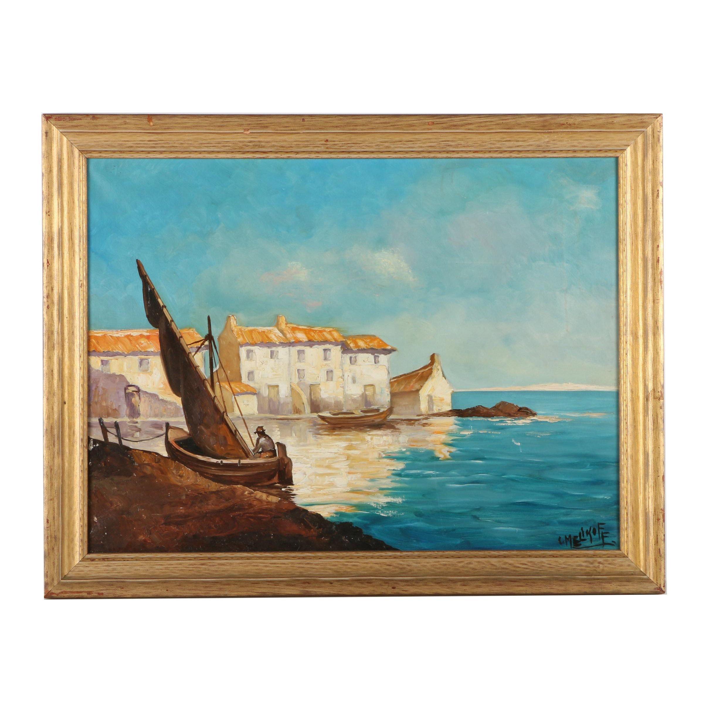 """C. Melikoff Oil Painting """"Marseille Village"""""""