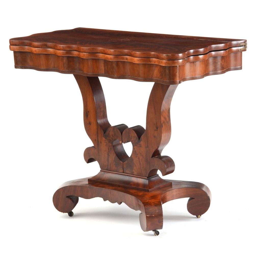 American Late Empire Mahogany Veneer Game Table c. 1850