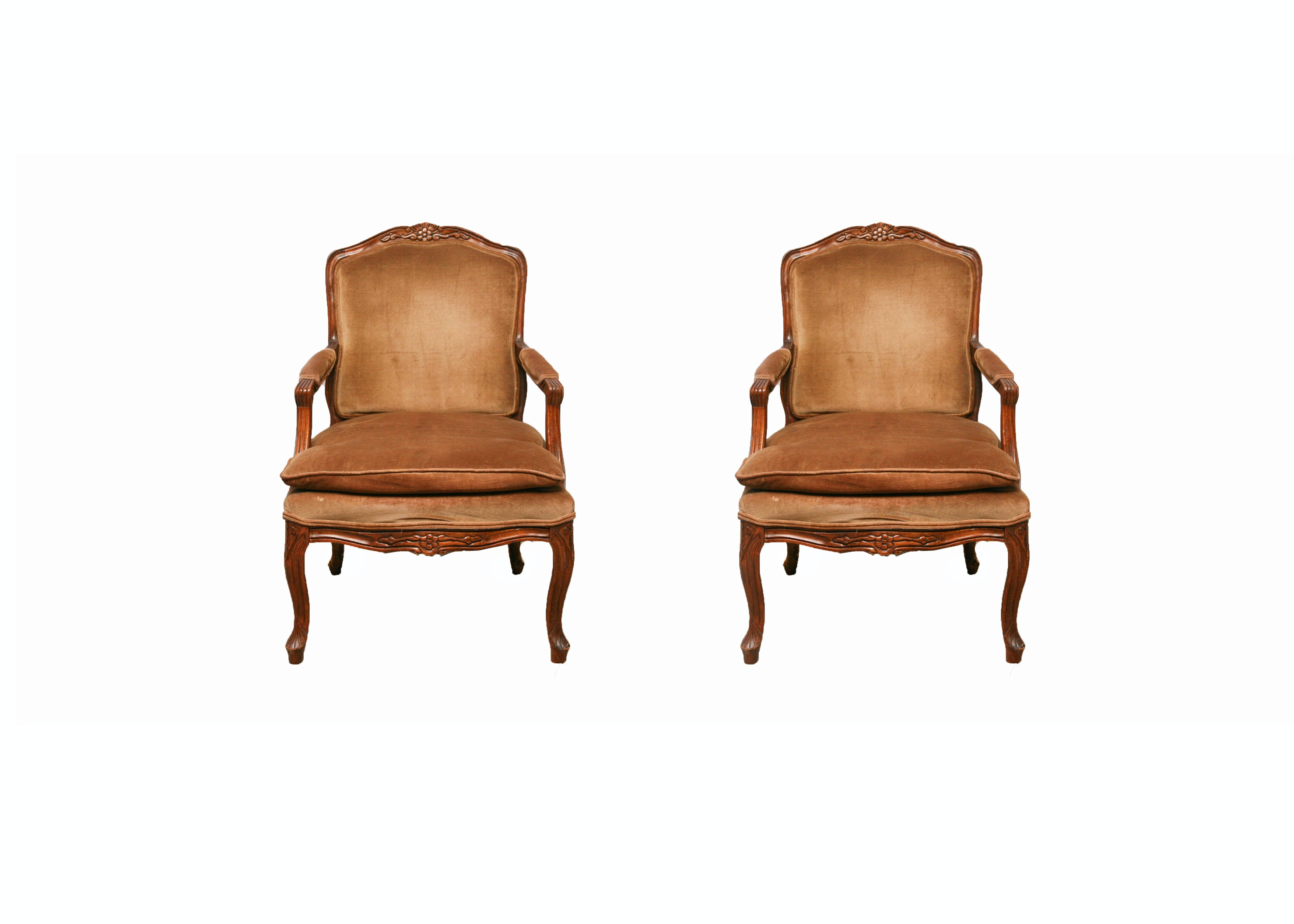 Pair of Carved Wooden Chairs with Velvet Upholstery