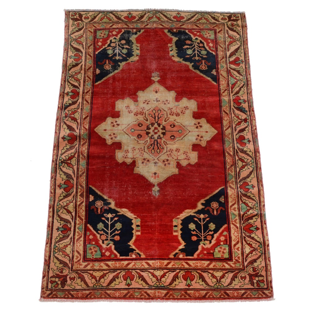 Antique Persian Hand-Knotted Bakshaish Area Rug