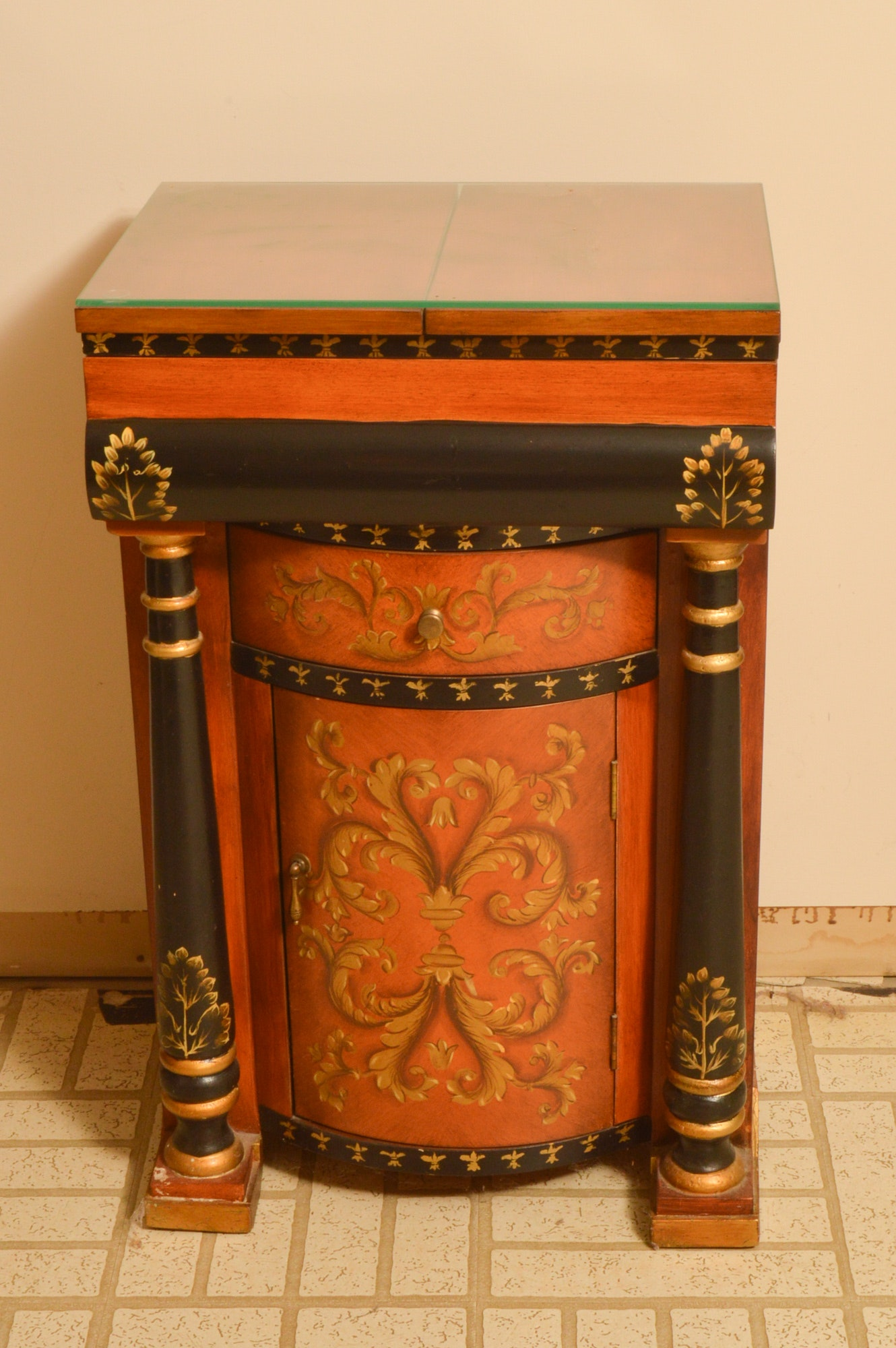 Hand-Painted Side Cabinet with Flip-Top Leaves