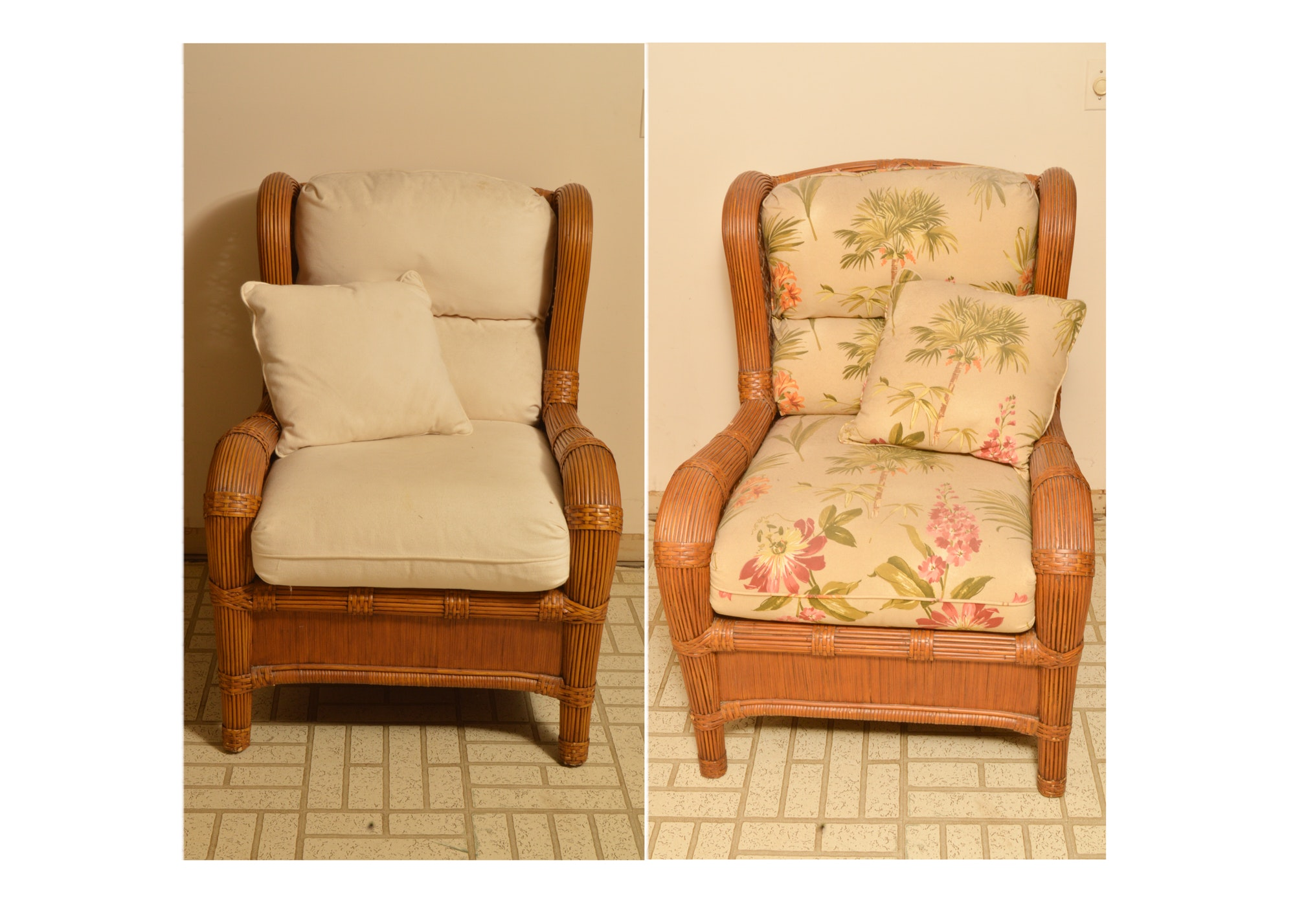 Pair of Wicker Wingback Armchairs