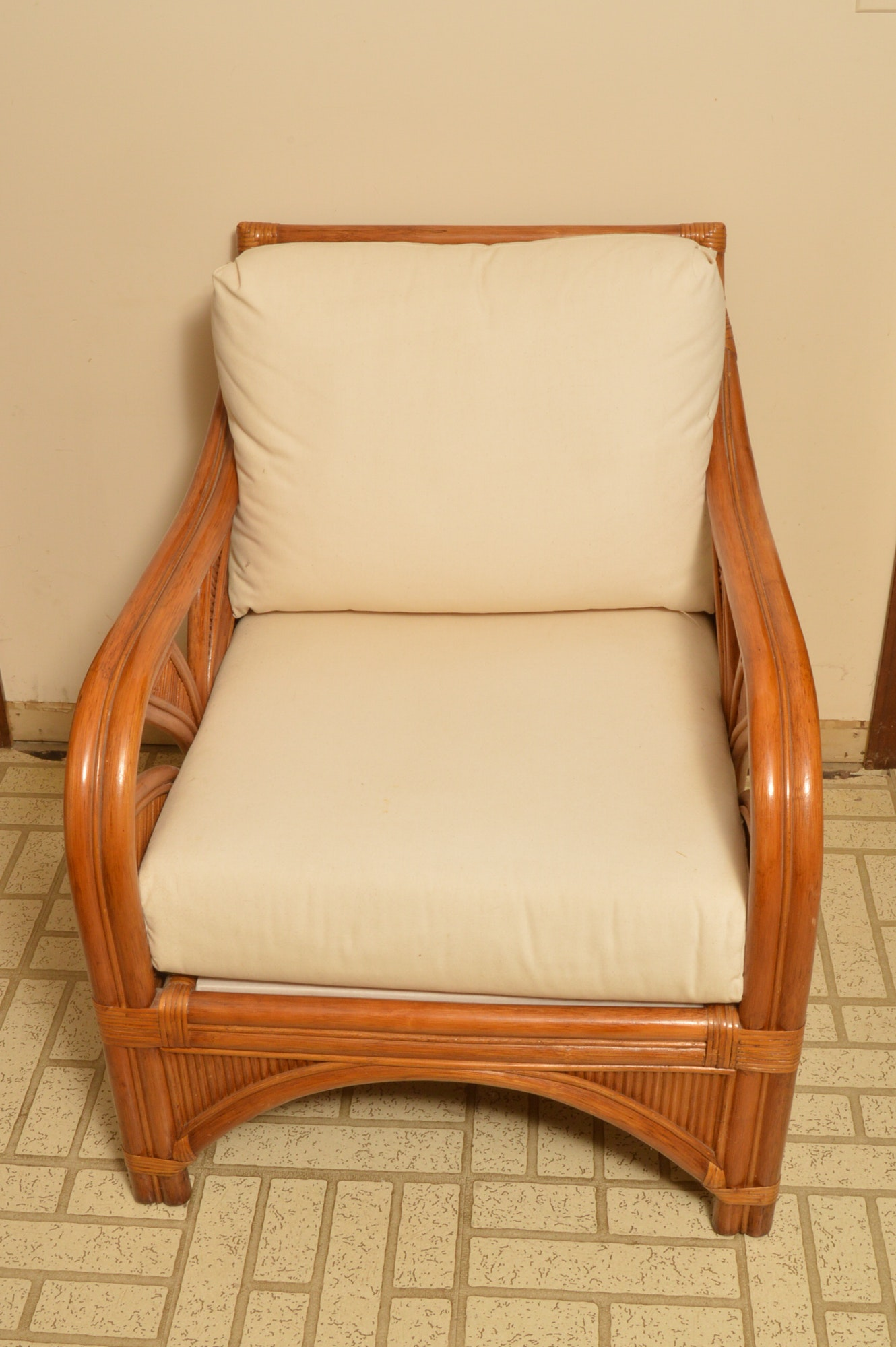 Rattan Armchair with Ivory Cushions