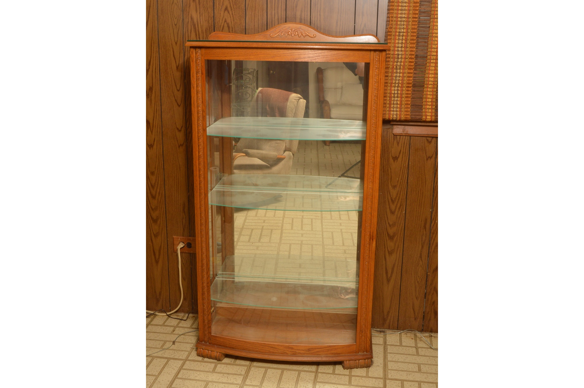 Vintage Oak Display Curio Cabinet With Glass Shelving