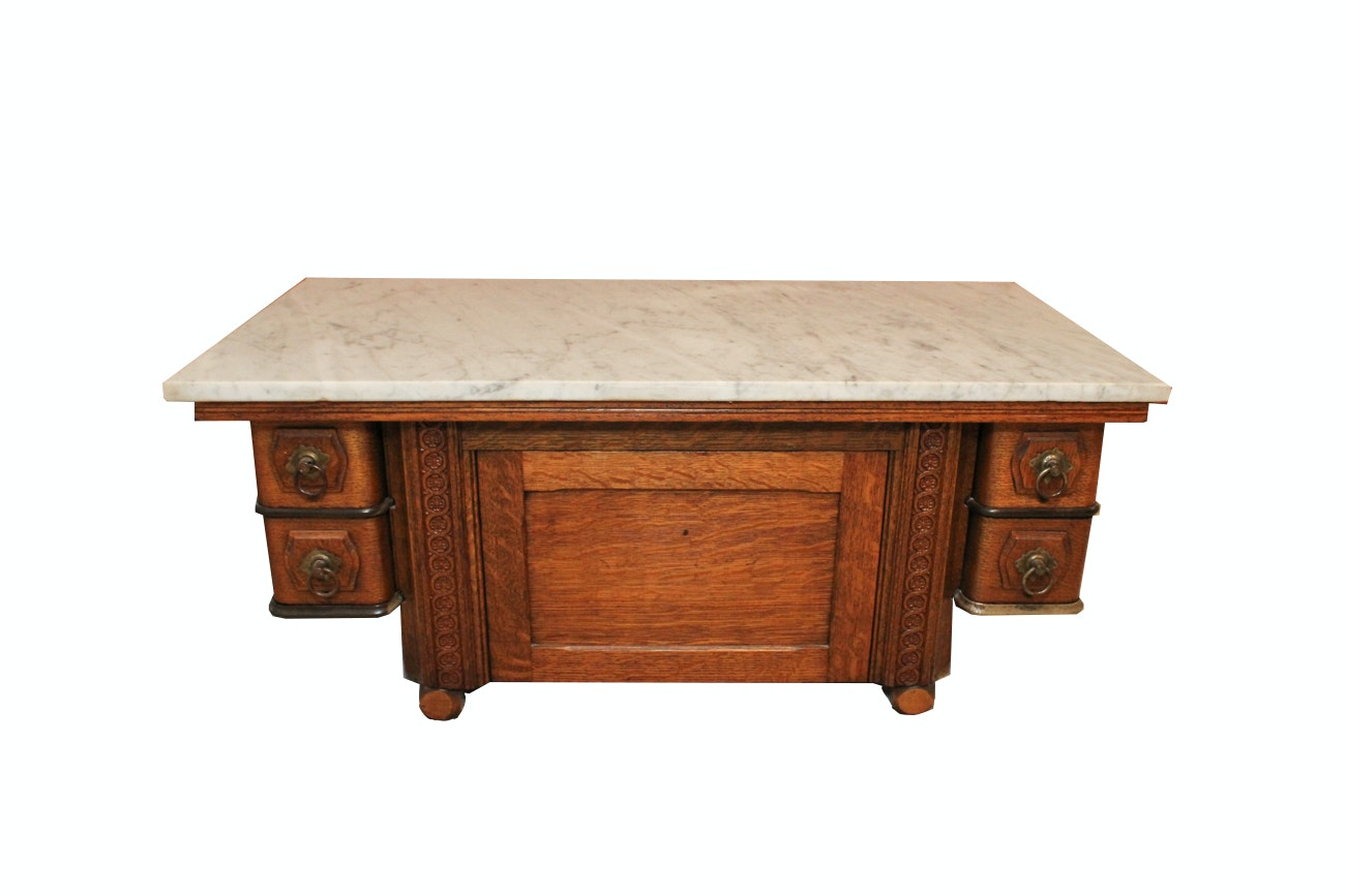 Antique Marble Topped Side Table