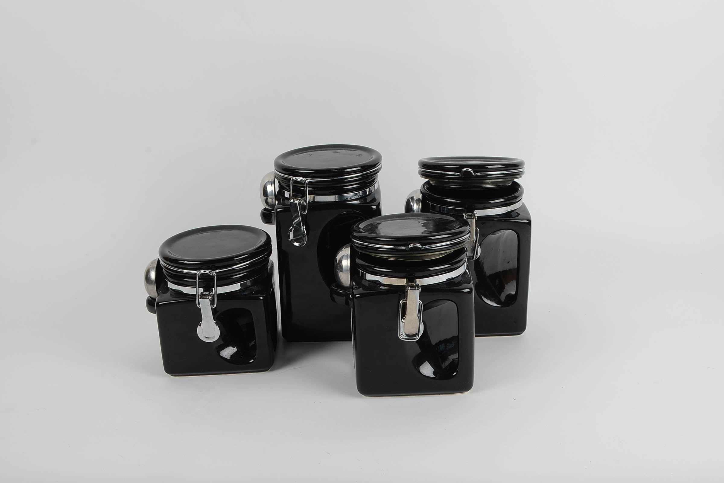 Black Ceramic Kitchen Canisters. Cool Rooster Blue Set Of Ceramic ...