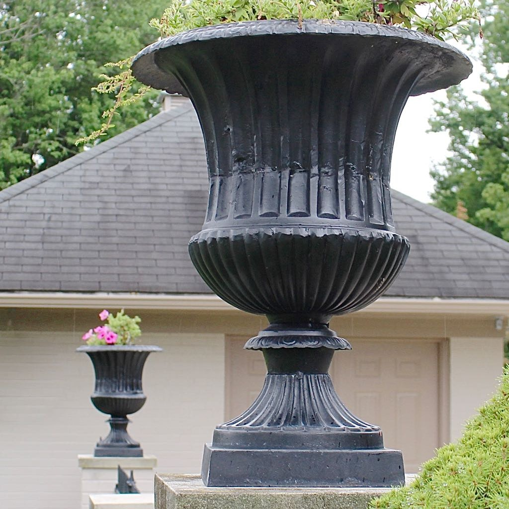 Two Classical Style Cast Iron Garden Planter Urns ...
