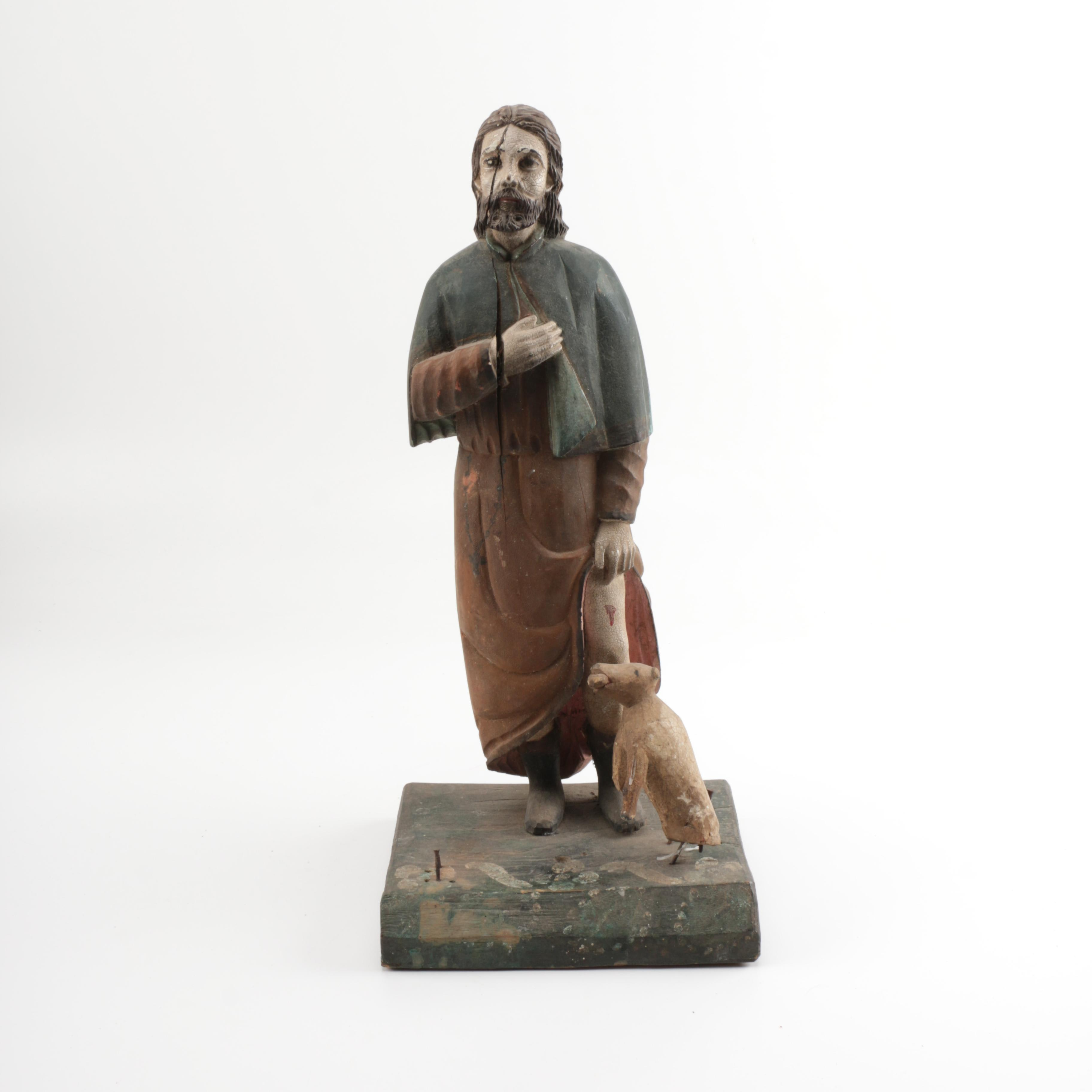 Mid 19th Century Spanish Colonial Santos Figure of St. Roch, Patron Saint of Dogs