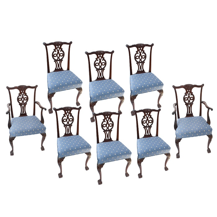 Eight Chippendale Style Dining Room Chairs