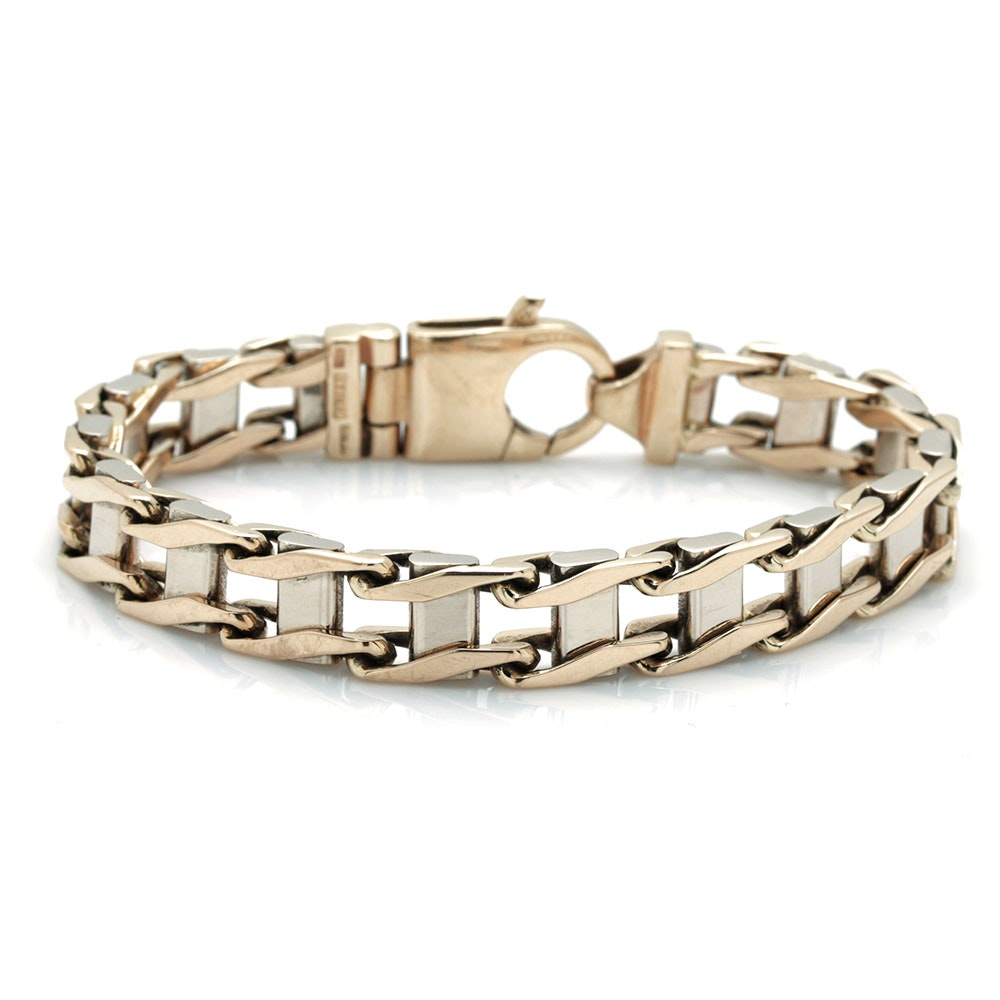 14K Two Tone Railroad Bracelet